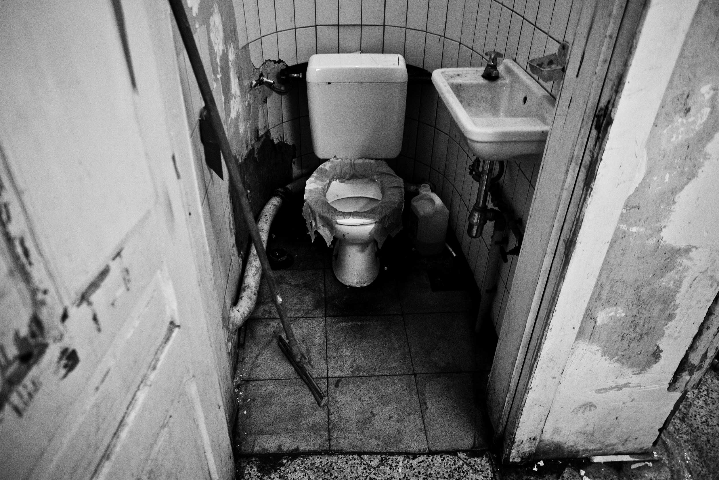 Toilet for working prisoners inside the prison of Forest, Brussels, Belgium on October 2011.
