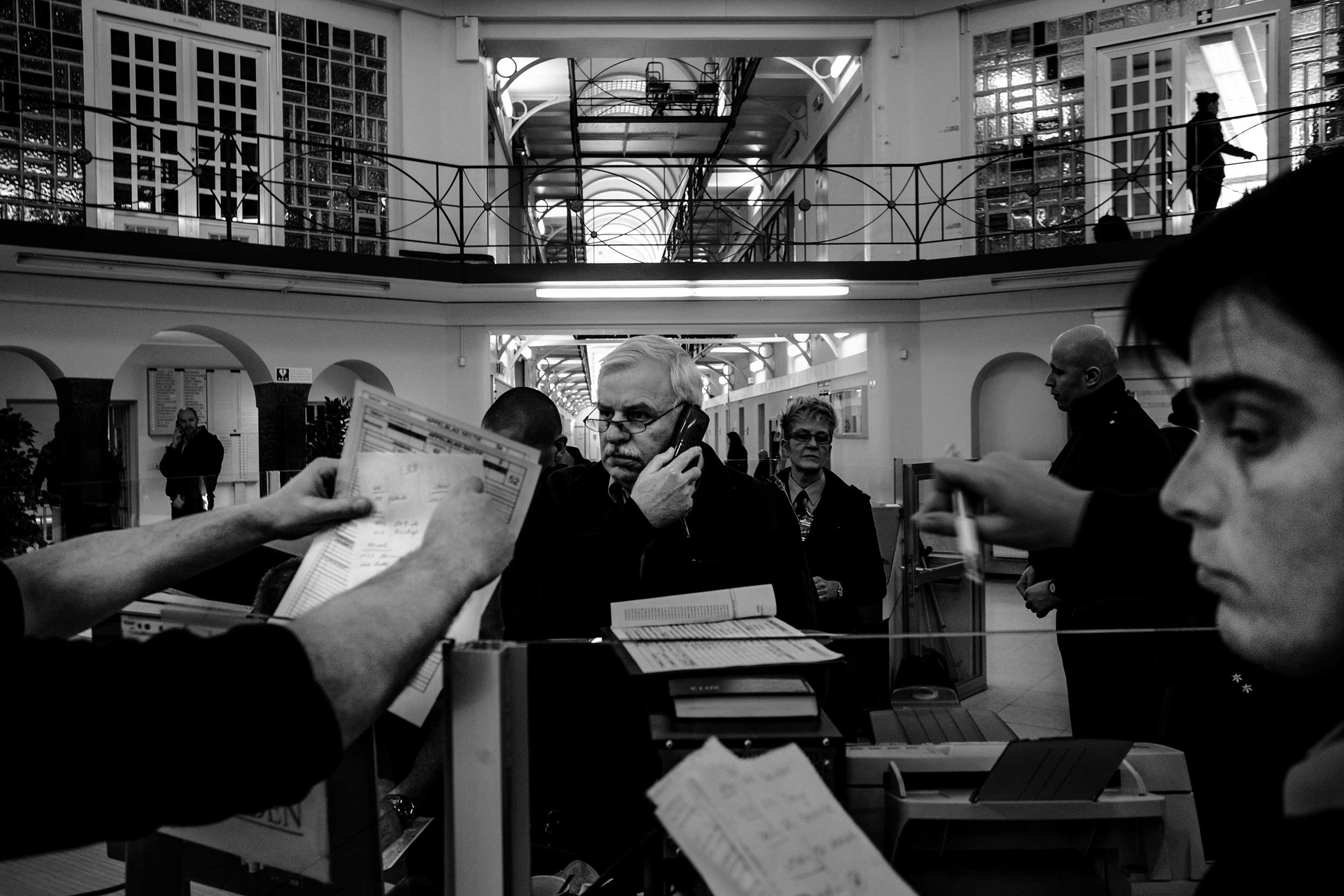 Guards Inside the main security hall. Ghent, December 2013.