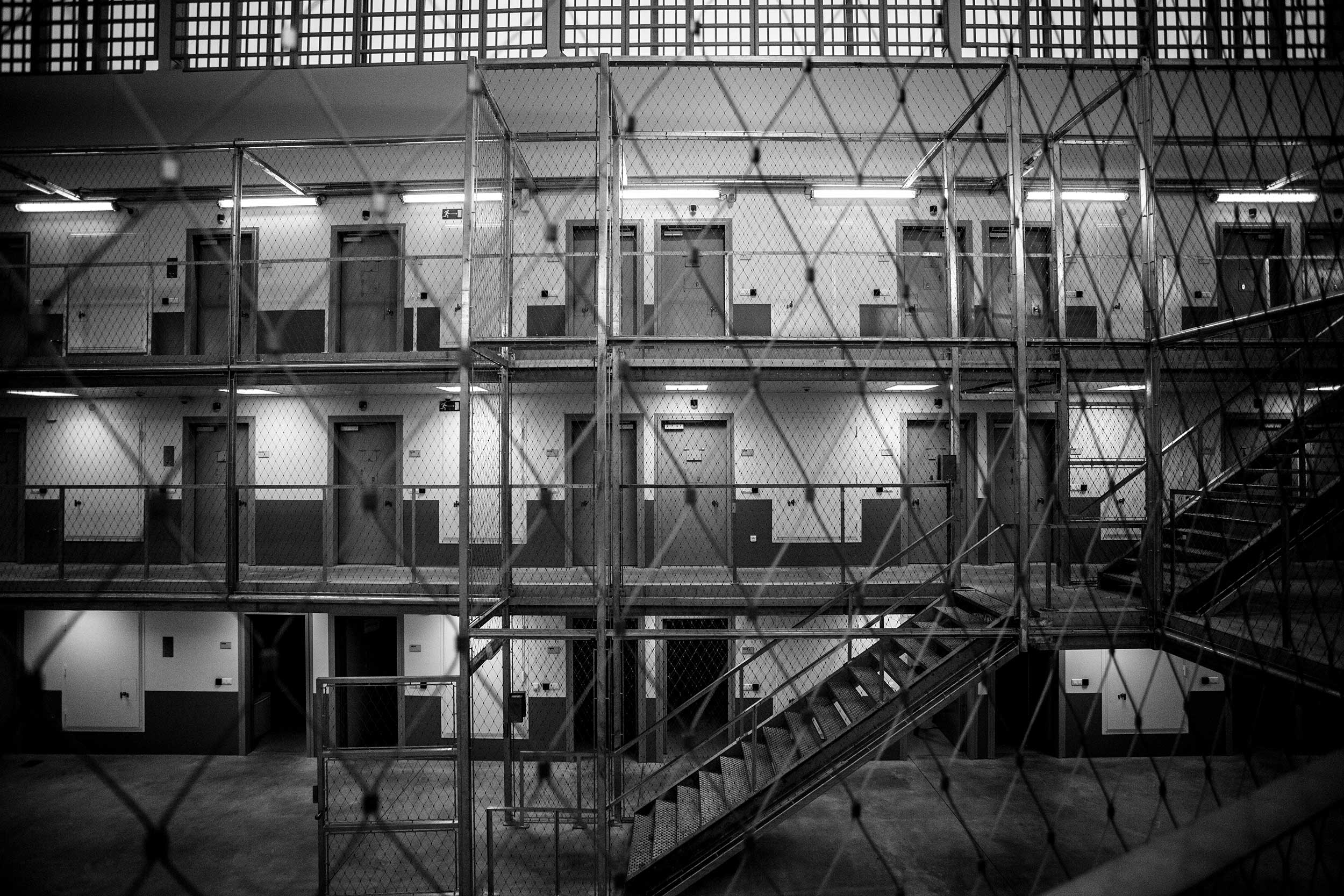 Inside a wing of one Belgium's most recent prisons, freshly built in Beveren. February 2014.