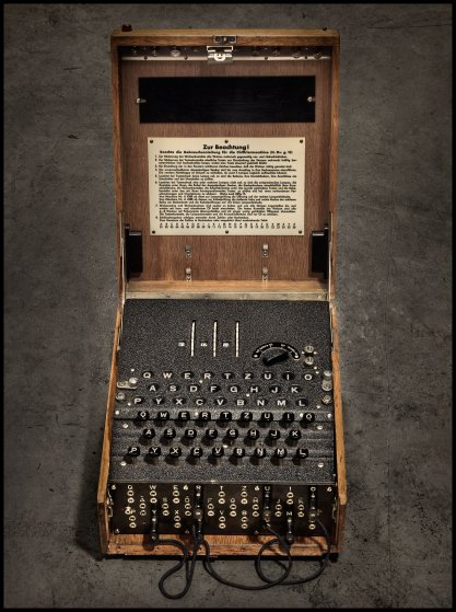 An Enigma machine courtesy of the Computer History Museum in Mountain View, California.