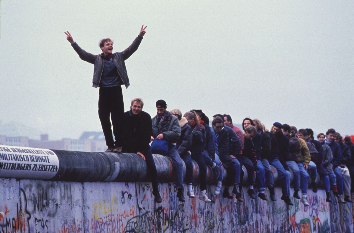 West Germans celebrate atop the Berlin Wall on Nov. 12, 1989.
