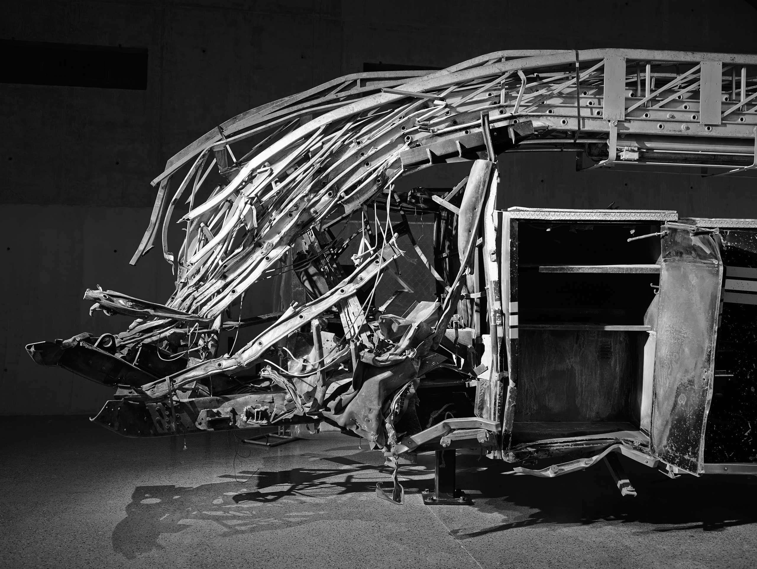 The crushed fire truck of Ladder Company 3 at the 9/11 Memorial Museum, May 2, 2014.