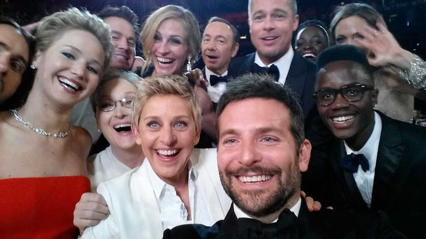 Image posted by Oscars show host Degeneres on her Twitter account shows movie stars posing for a picture taken by Cooper at 86th Academy Awards in Hollywood, California