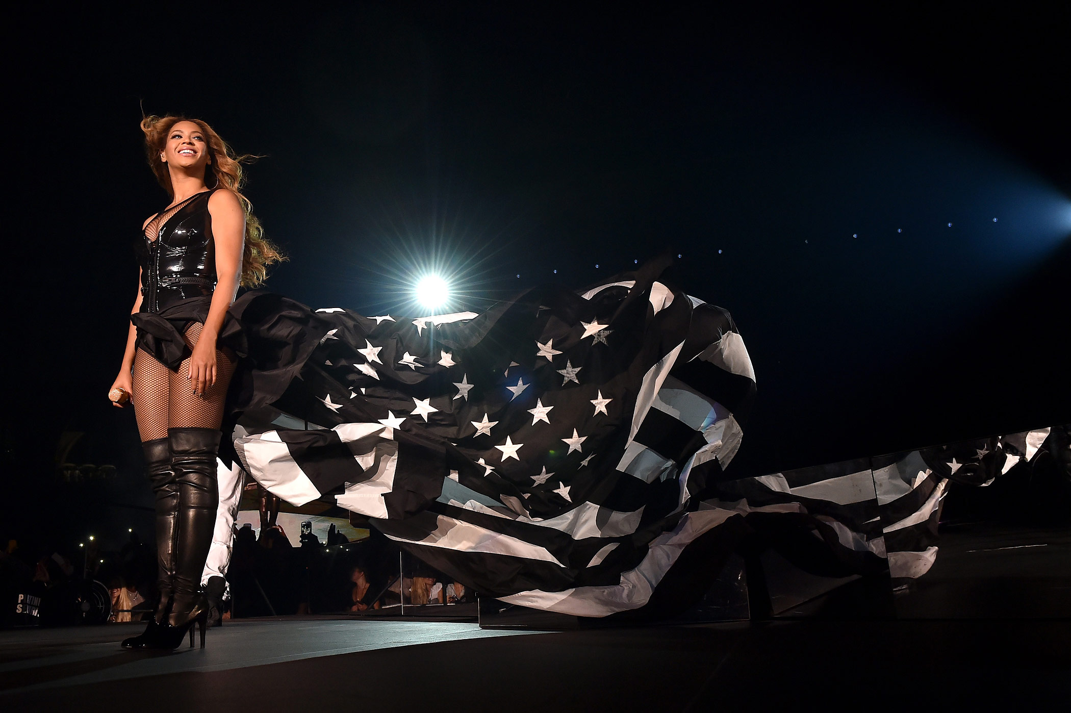 Beyonce performs during the  On The Run Tour: Beyonce And Jay-Z  at Minute Maid Park on July 18, 2014 in Houston, Texas.