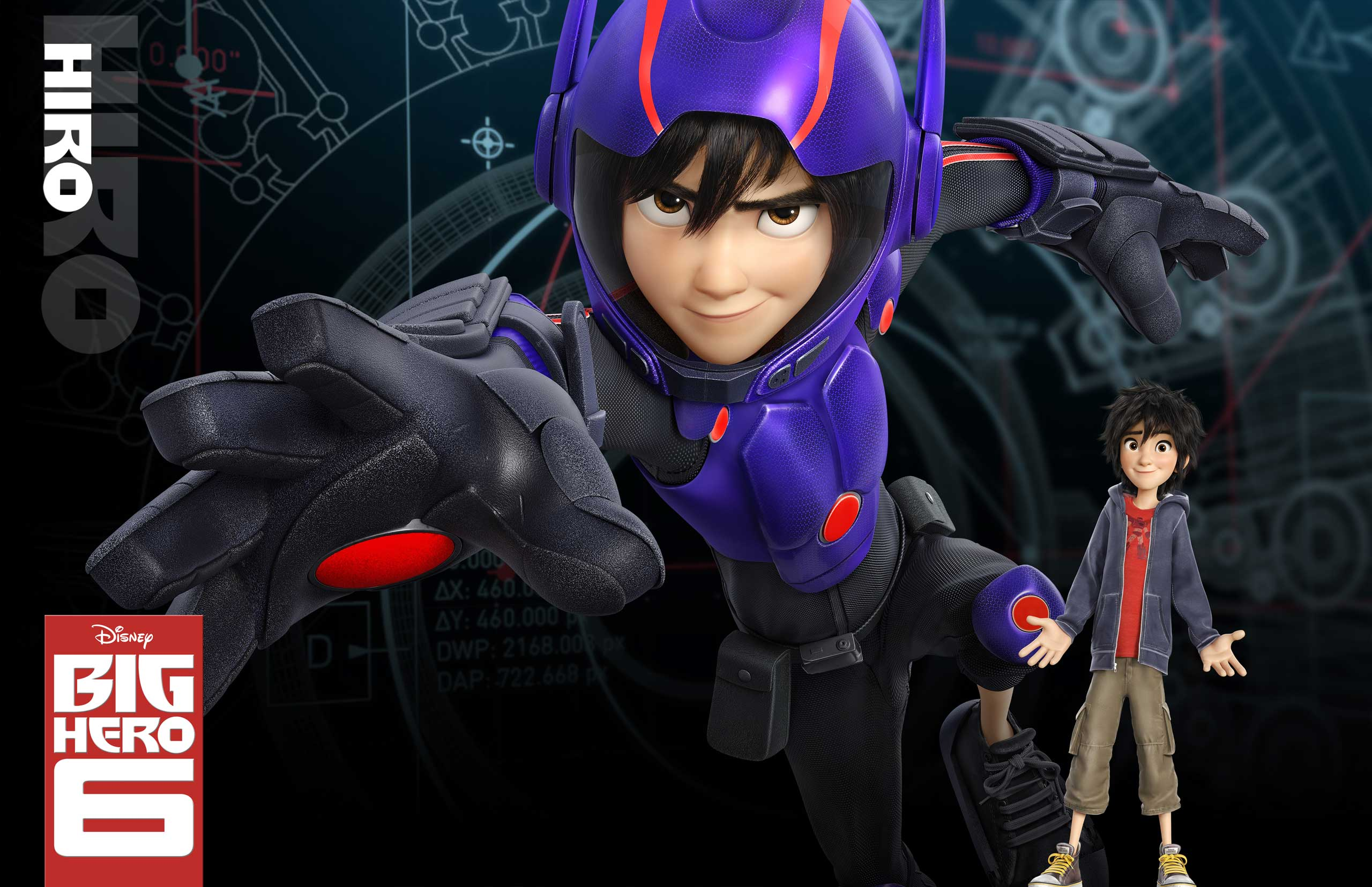 Hiro Hamada, voiced by Ryan Potter, is 14-year-old robotics prodigy and de facto leader of the Big Hero 6 who gives Baymax his robotic crime-fighting upgrades.