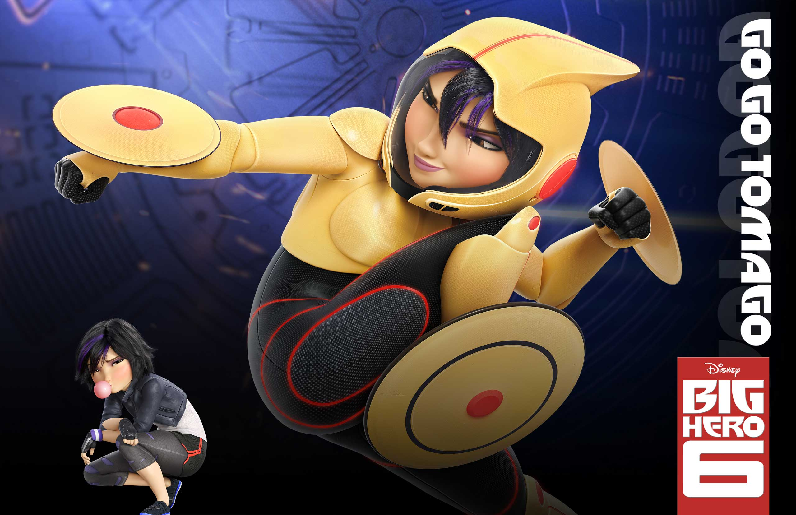 GoGo Tomago, voiced by Jamie Chung, is a a spunky and athletic girl with a need for speed. She zooms around on electro magnetic discs that double as weapons that she can project.