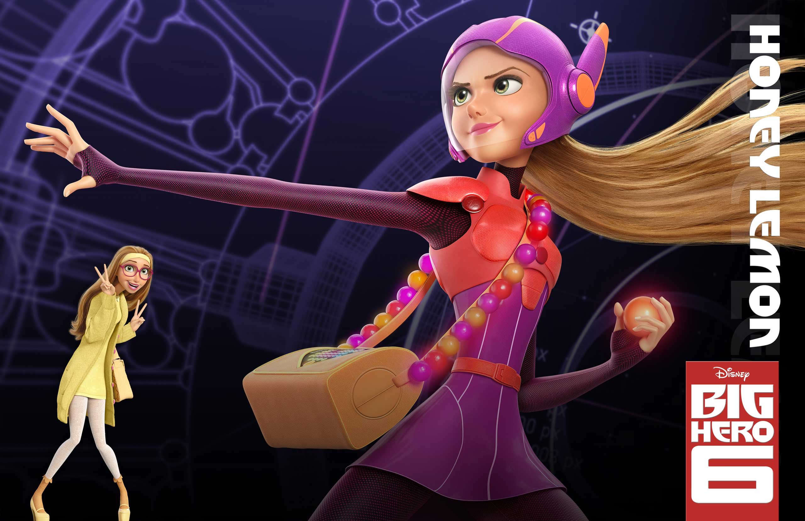 Honey Lemon, voiced by Génesis Rodríguez, fights crime with her purse, which doubles as a mini-lab that can churn out spheres that can disable, explode, or do a host of other things to foes.