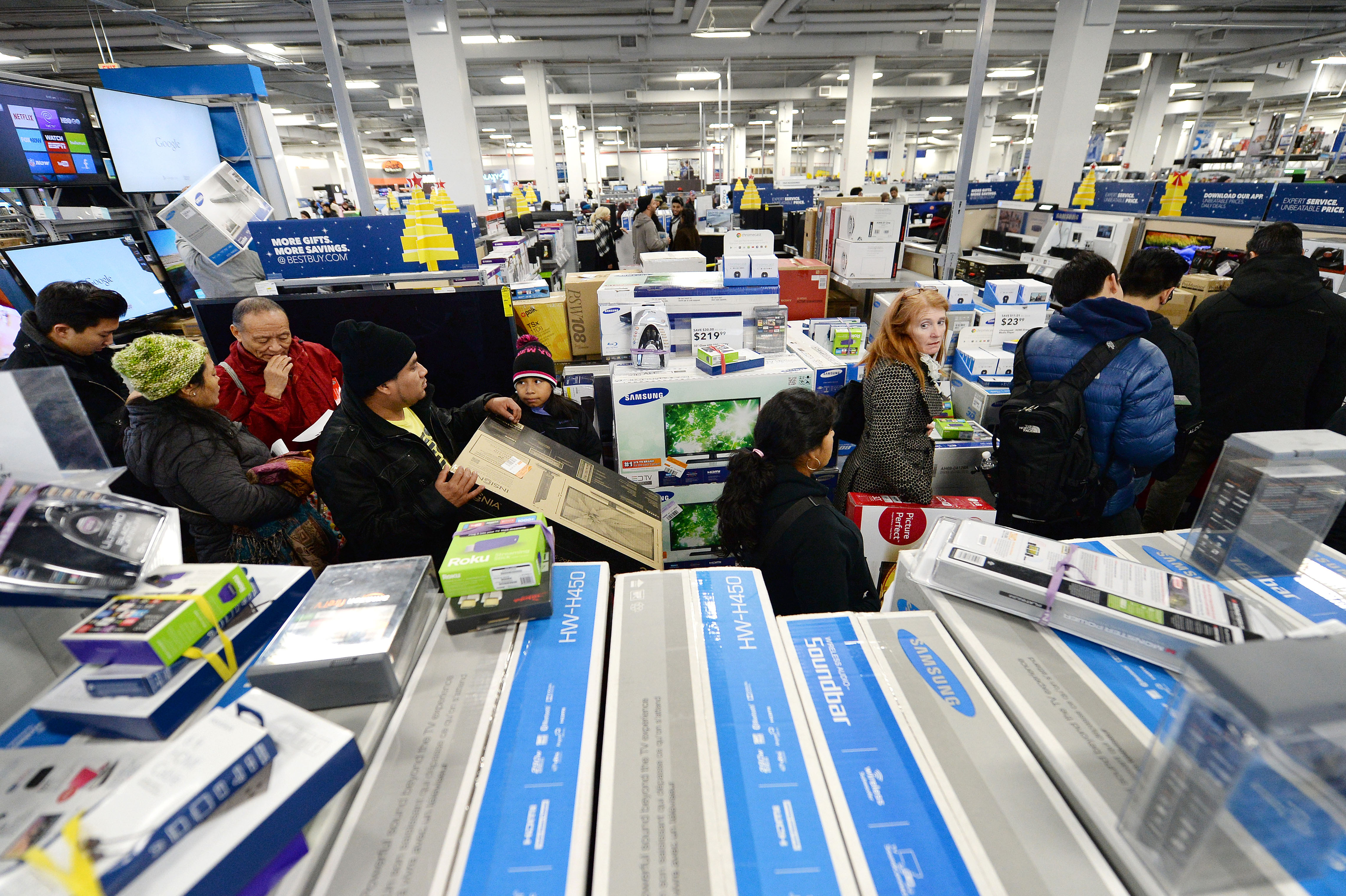 Shoppers wait in line at a Best Buy electronics store in Queens on  Black Friday  Nov. 28, 2014.