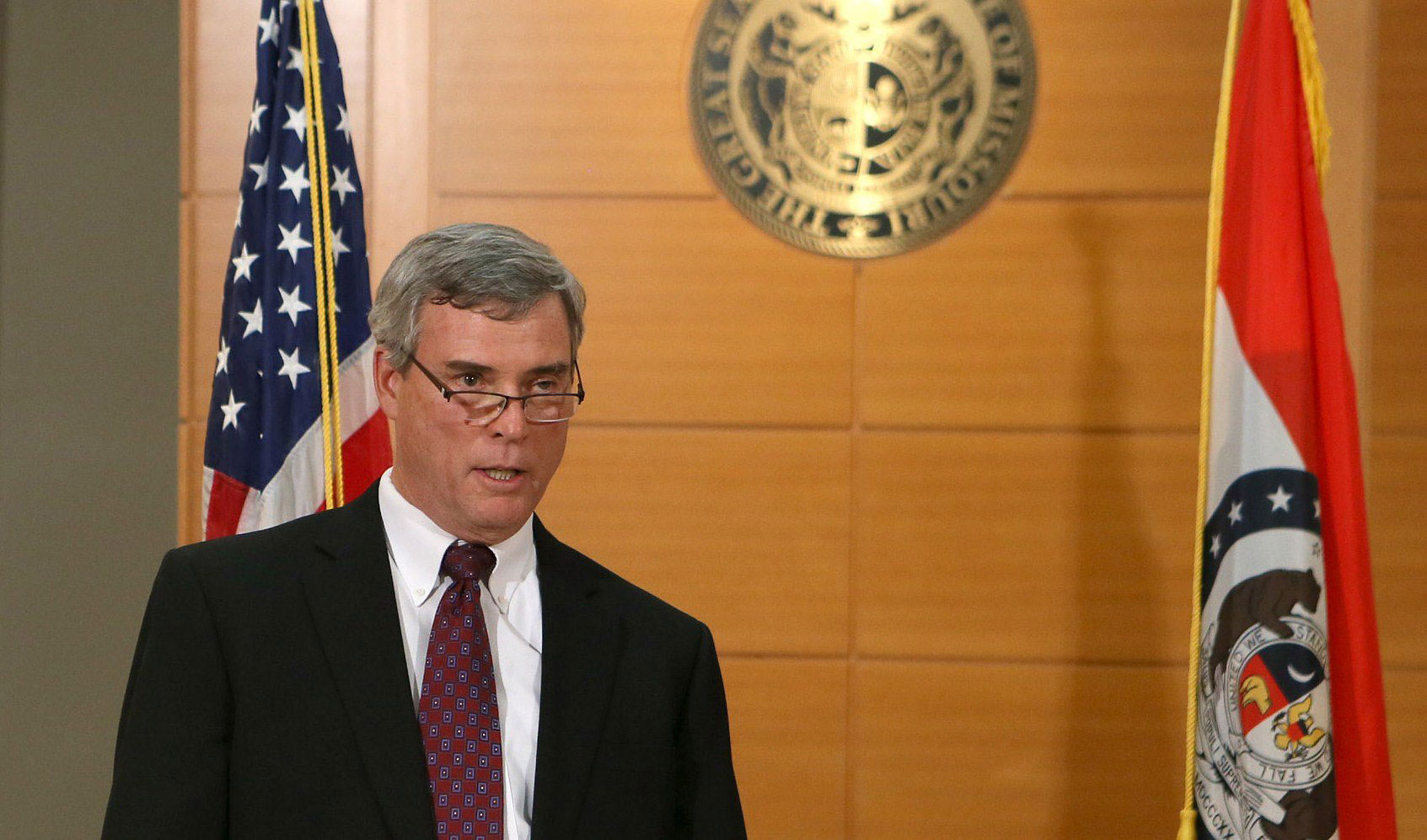 St. Louis County Prosecutor Robert McCulloch announces the grand jury's decision not to indict Ferguson police officer Darren Wilson on November 24, 2014 at the Buzz Westfall Justice Center in Clayton, Mo.
