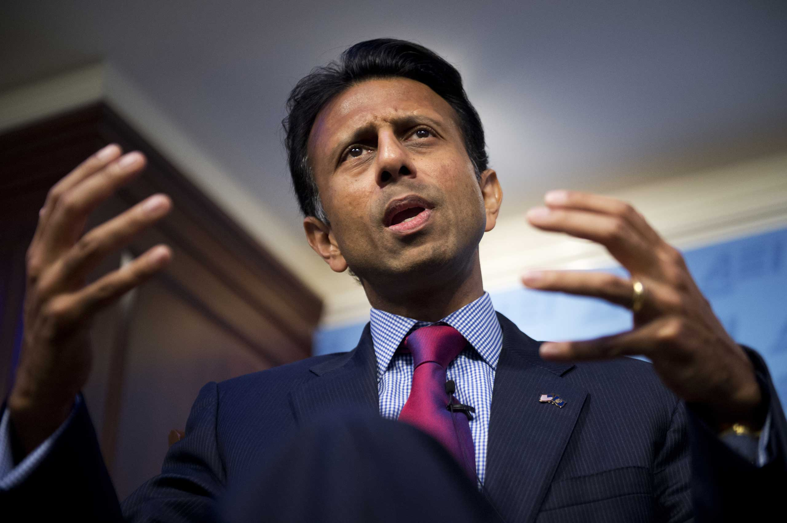 Louisiana Gov. Bobby Jindal delivers a speech at the American Enterprise Institute in Washington on Oct. 6, 2014.