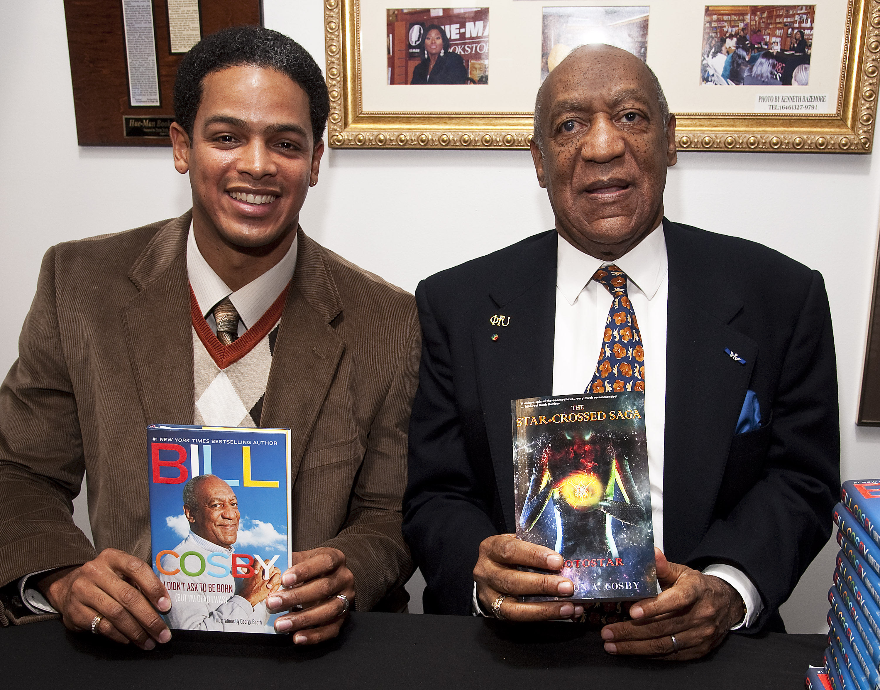 Braxton Cosby promotes his book The Star-Crossed Saga Prostar while his uncle Bill Cosby promotes I Didn't Ask to Be Born (but I'm Glad I Was) in New York City on Jan. 18, 2012