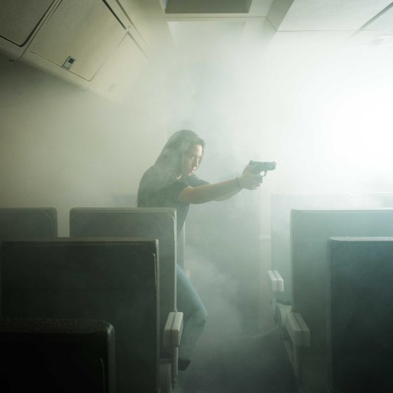 A U.S. Marshal in a training facility in Los Angeles International Airport.