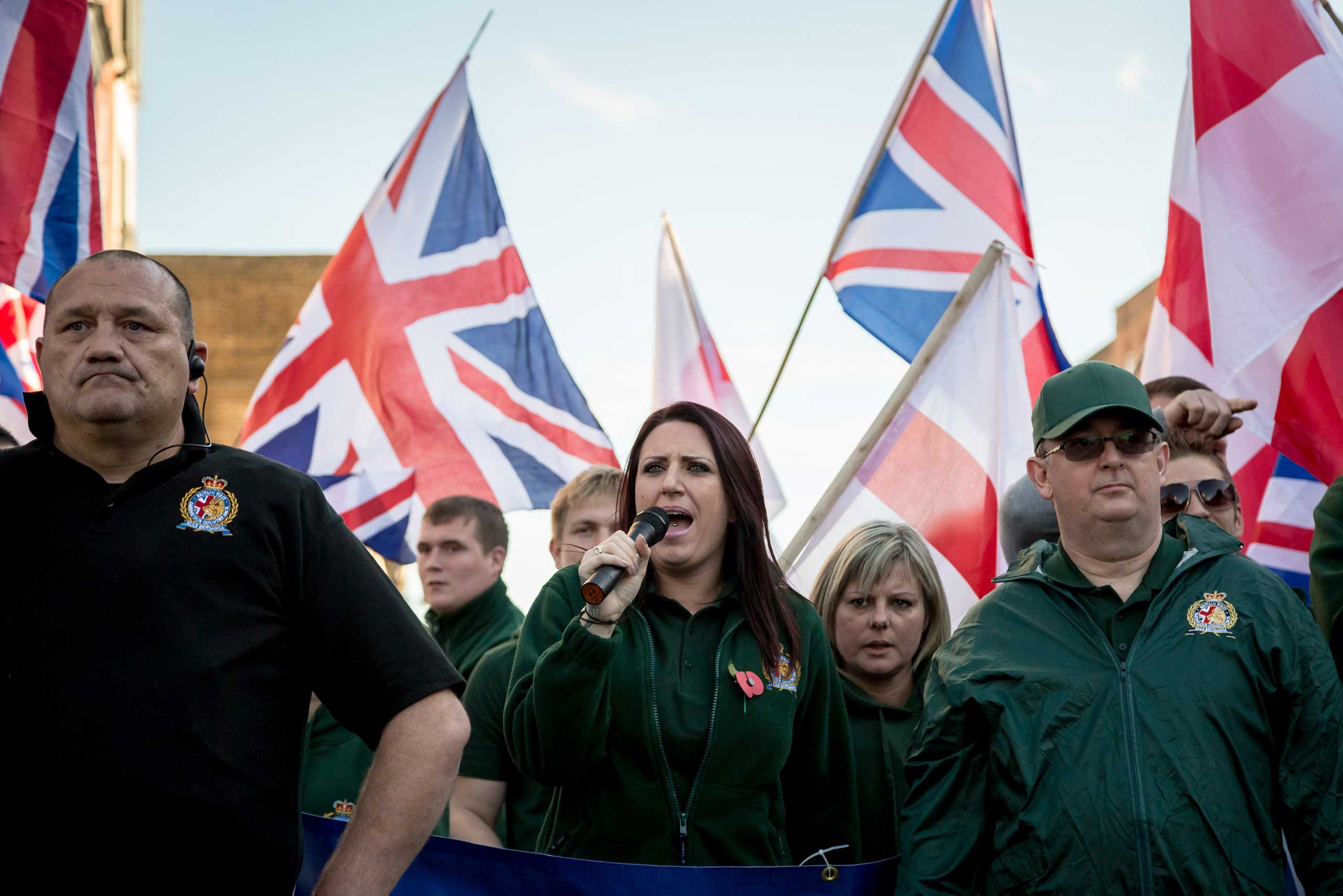 Jayda Fransen, deputy leader of Britain First, speaks during a march in Rochester, England, Nov. 1, 2014.