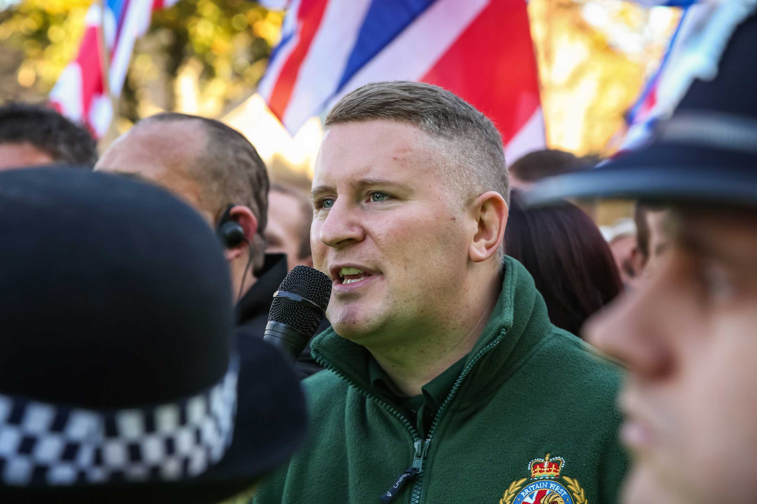 Paul Golding, leader of Britain First seen during a march in Rochester, England, Nov. 1, 2014.