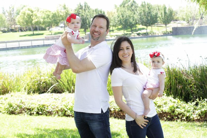 Christian and Alysia Padilla-Vaccaro and their healthy twins Annabella (left) and Evangelina. Now with a newly-restored immune system, Evangelina lives a normal and healthy life.