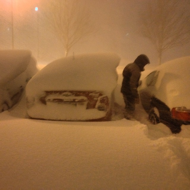 "James Yusczyk posted this photo after getting off work: ""Got out of work 2 hours early thanks to the snow... Hi car..."""