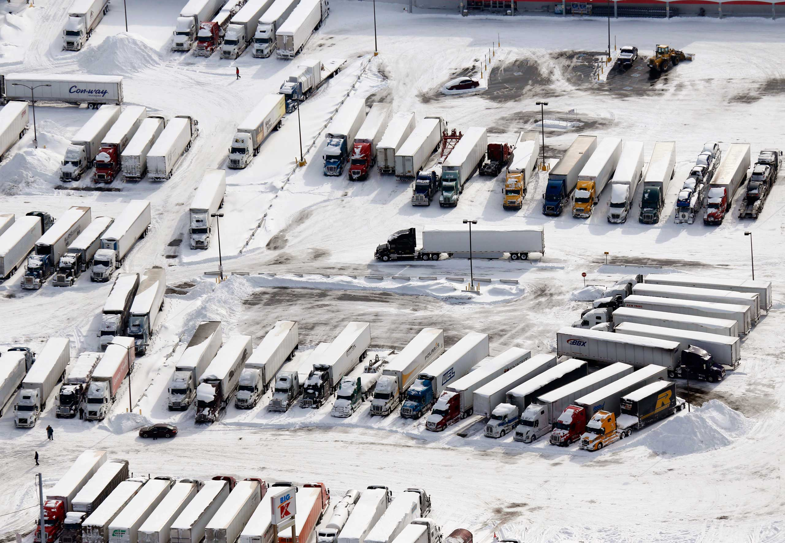 Trucks are parked at Jim's Truck Stop in Cheektowaga, N.Y. on Nov. 19, 2014.
