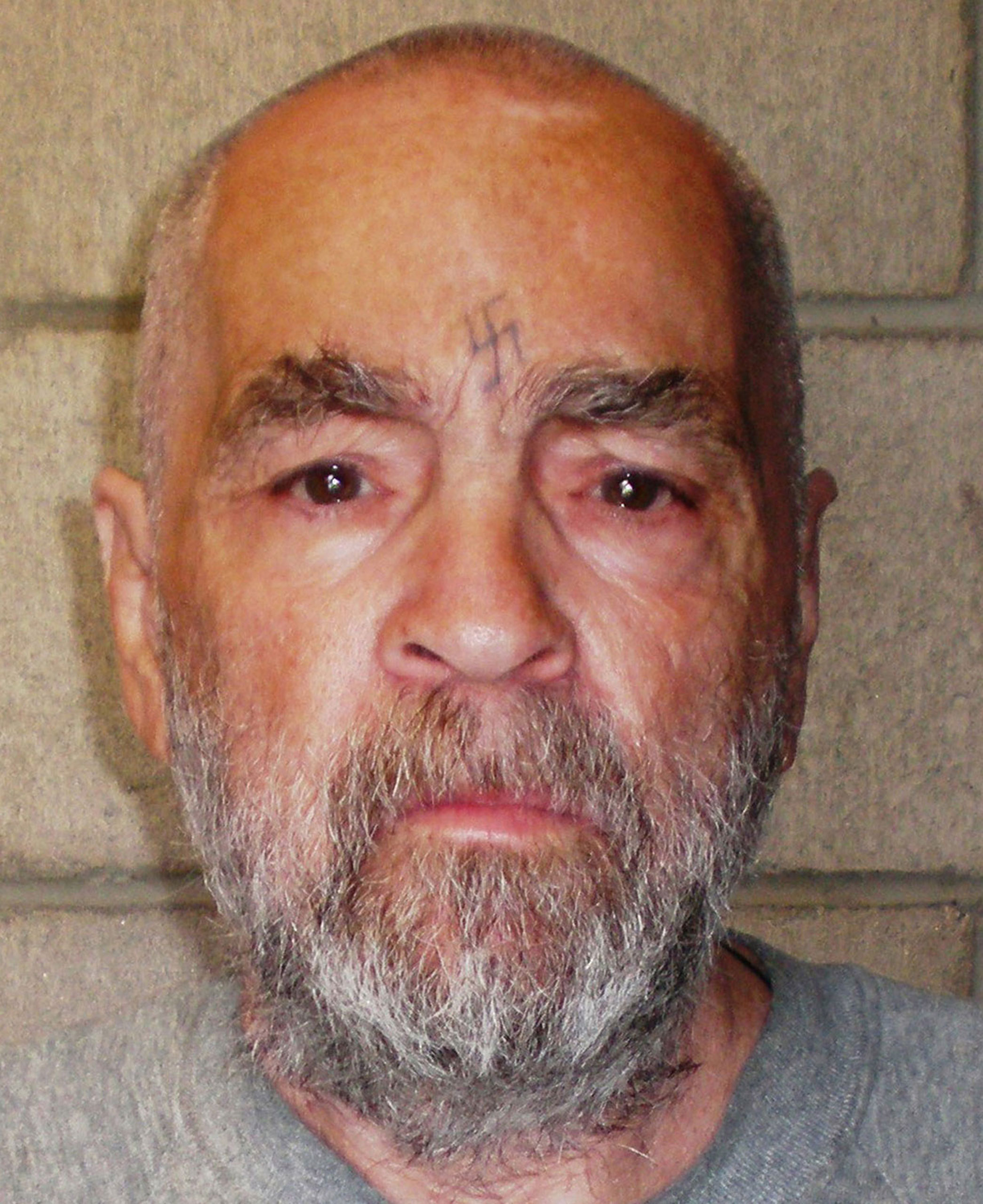 Manson, age 74, at Corcoran State Prison in California on March 18, 2009. The picture was taken as a regular update of the prison's files.