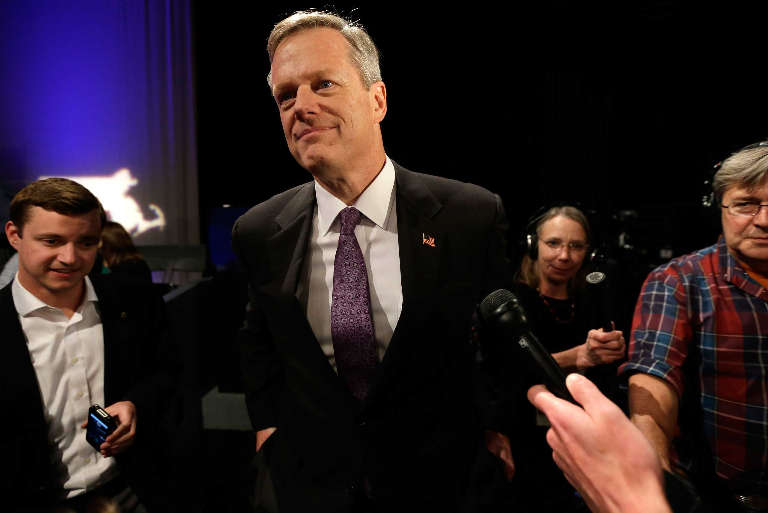 Charlie Baker after a debate with Democratic candidate Martha Coakley in Boston on Oct. 21, 2014.