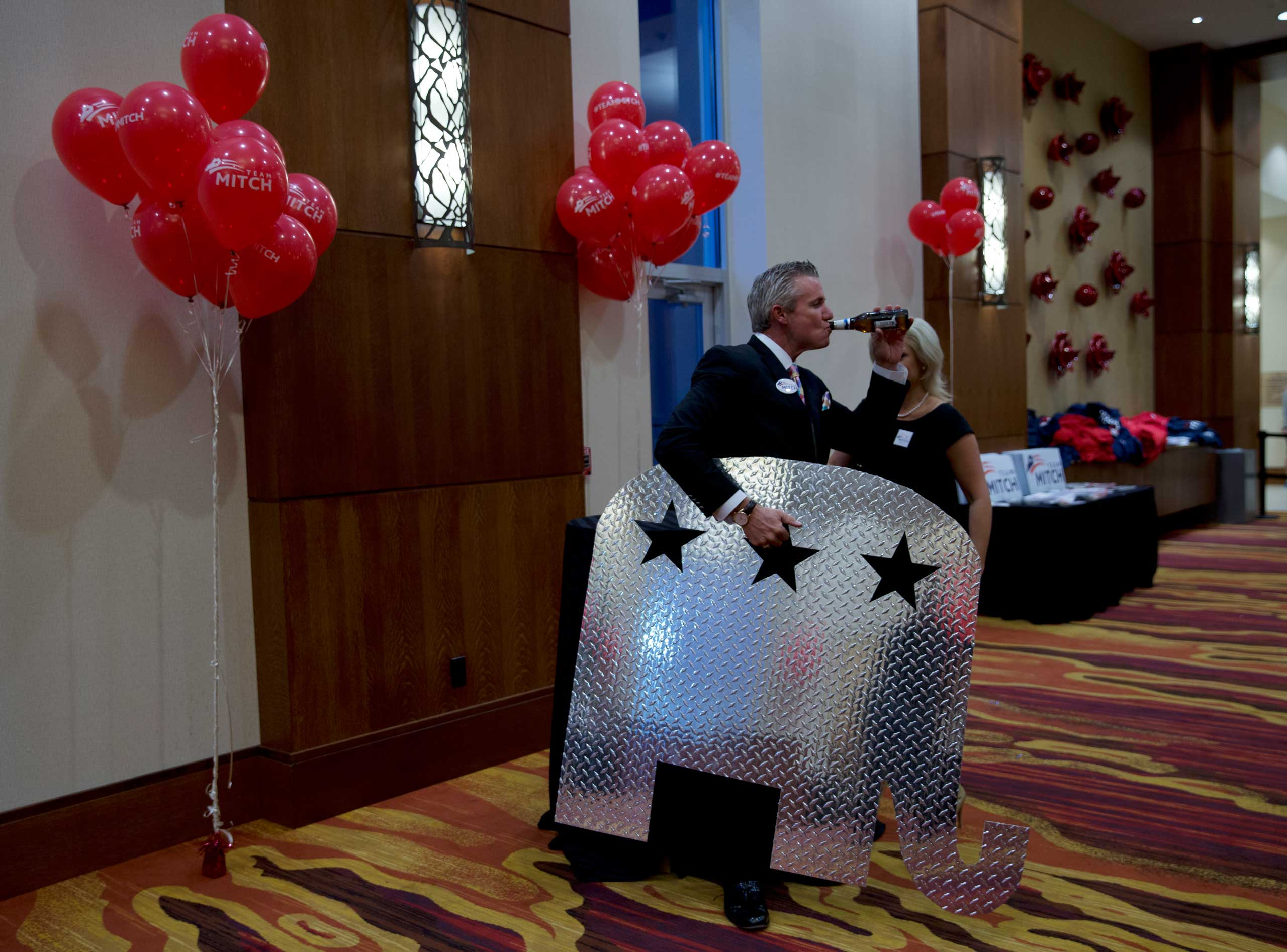 Supporters gather to celebrate incumbent Sen. Mitch McConnell's victory over Alison Lundergan Grimes at the Louisville Marriott East Hotel in Louisville, Ky. on Nov. 4, 2014. With the Republican takeover of the Senate, McConnell is expected to become the new Senate Majority Leader.