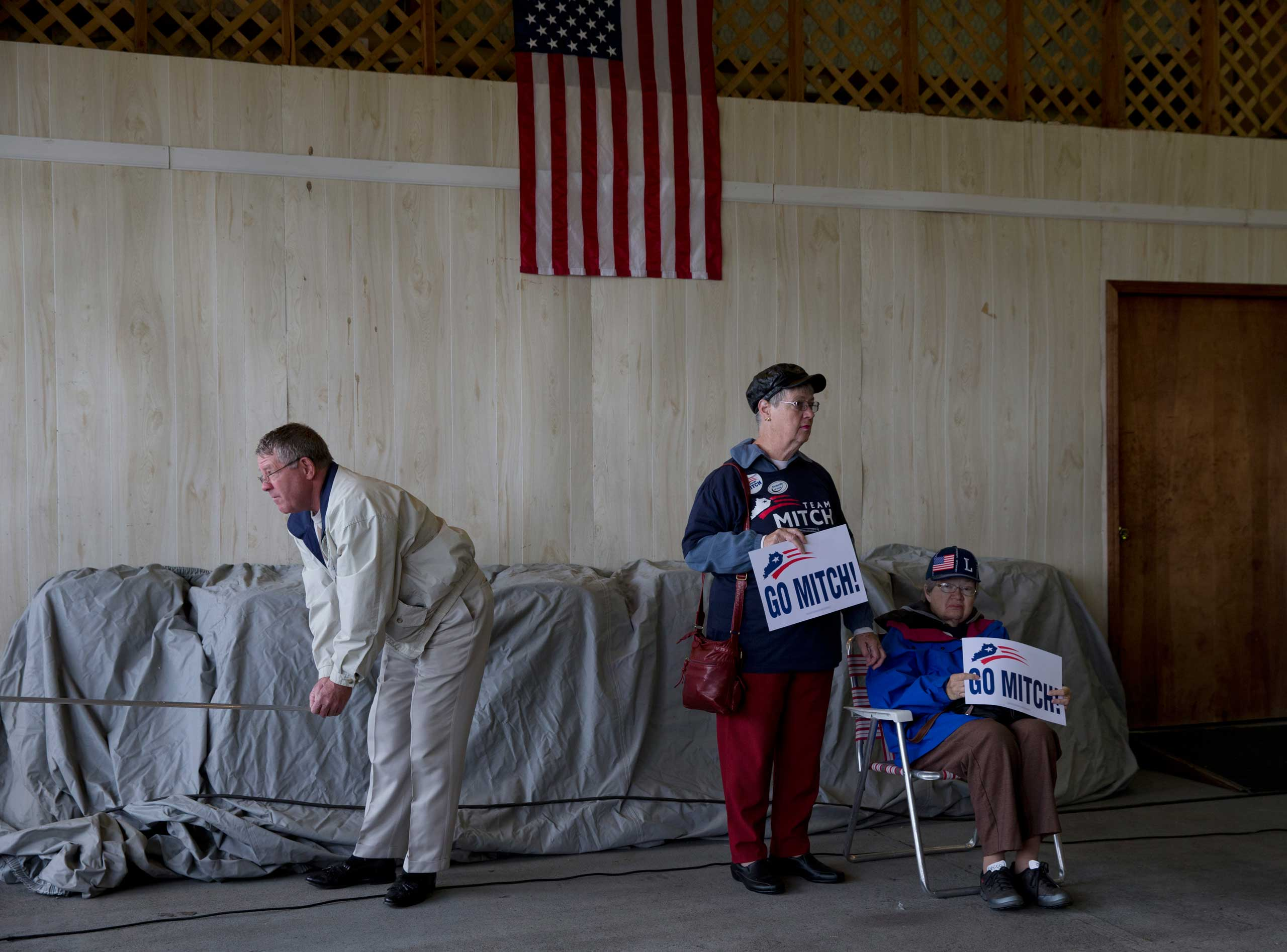 Supporters of Sen. Mitch McConnell attends a campaign rally at Bowman Field Air Hangar in Louisville, Ky. on Nov. 3, 2014.