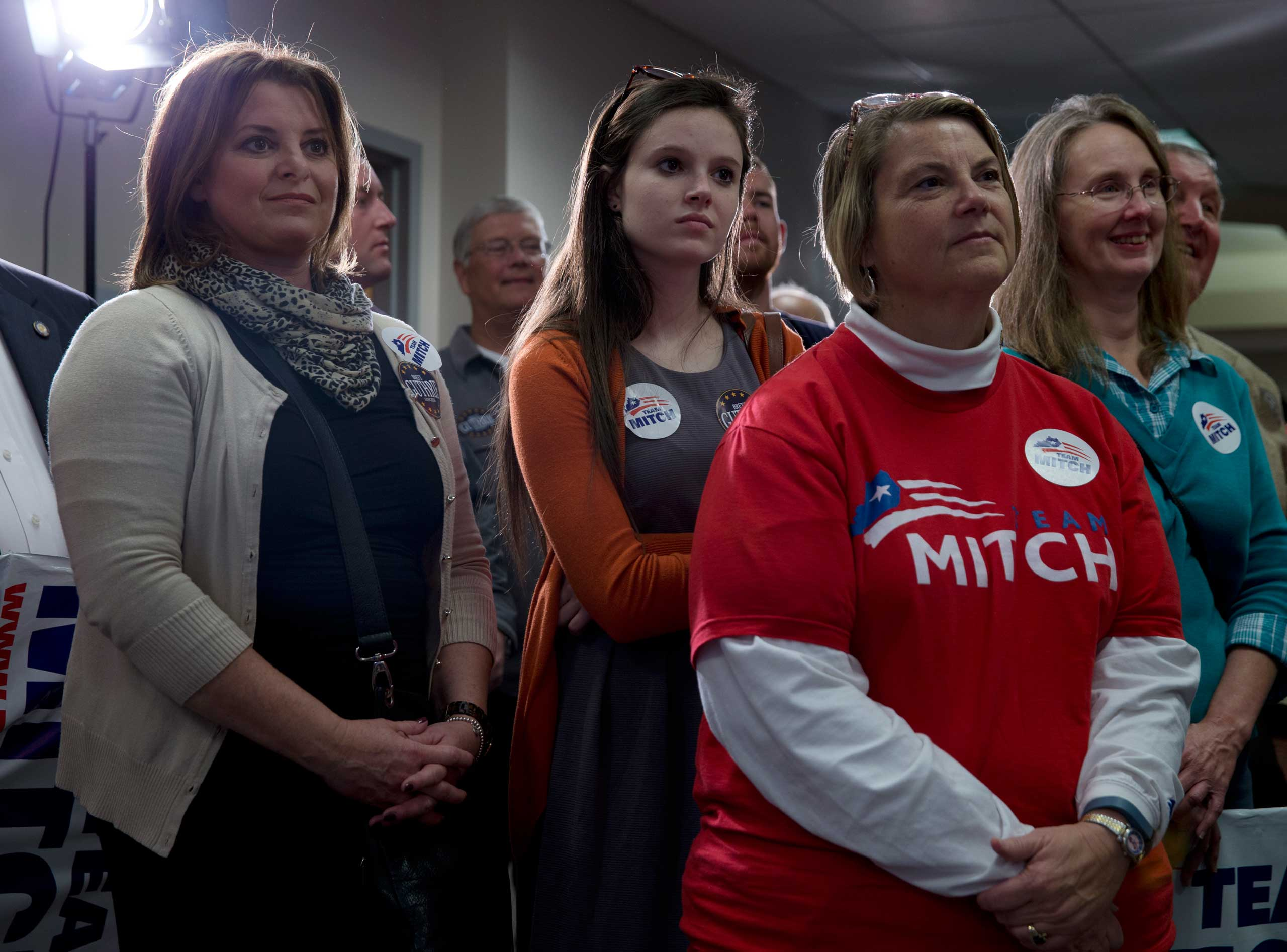 Supporters of Sen. Mitch McConnell at campaign rally at the Bowling Green-Warren Co. Regional Airport in Bowling Green, Ky. on Nov. 3, 2014.