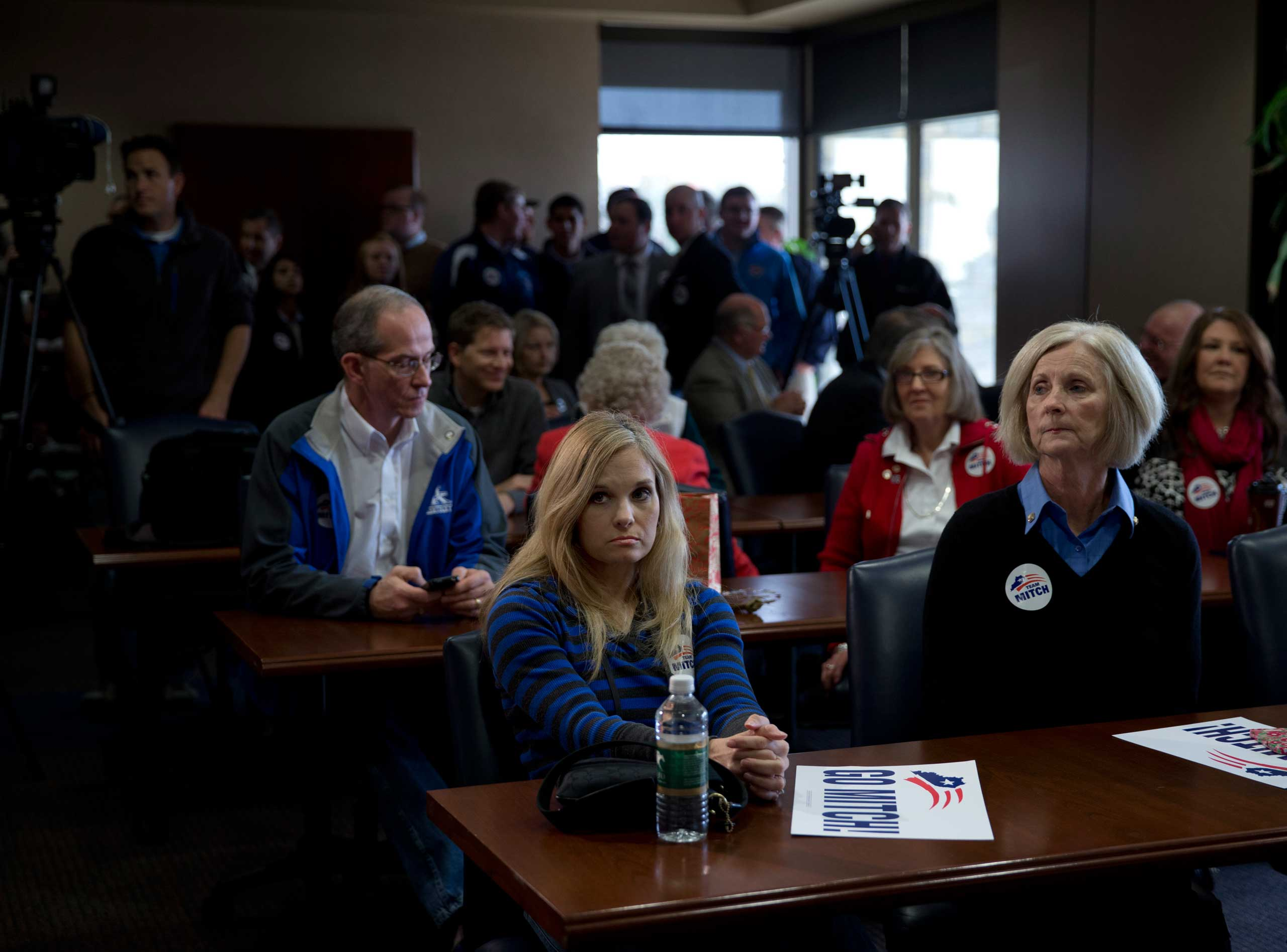 Supporters of Sen. Mitch McConnell are seen at a campaign rally at Bluegrass Airport in Lexington, Ky. on Nov. 3, 2014.