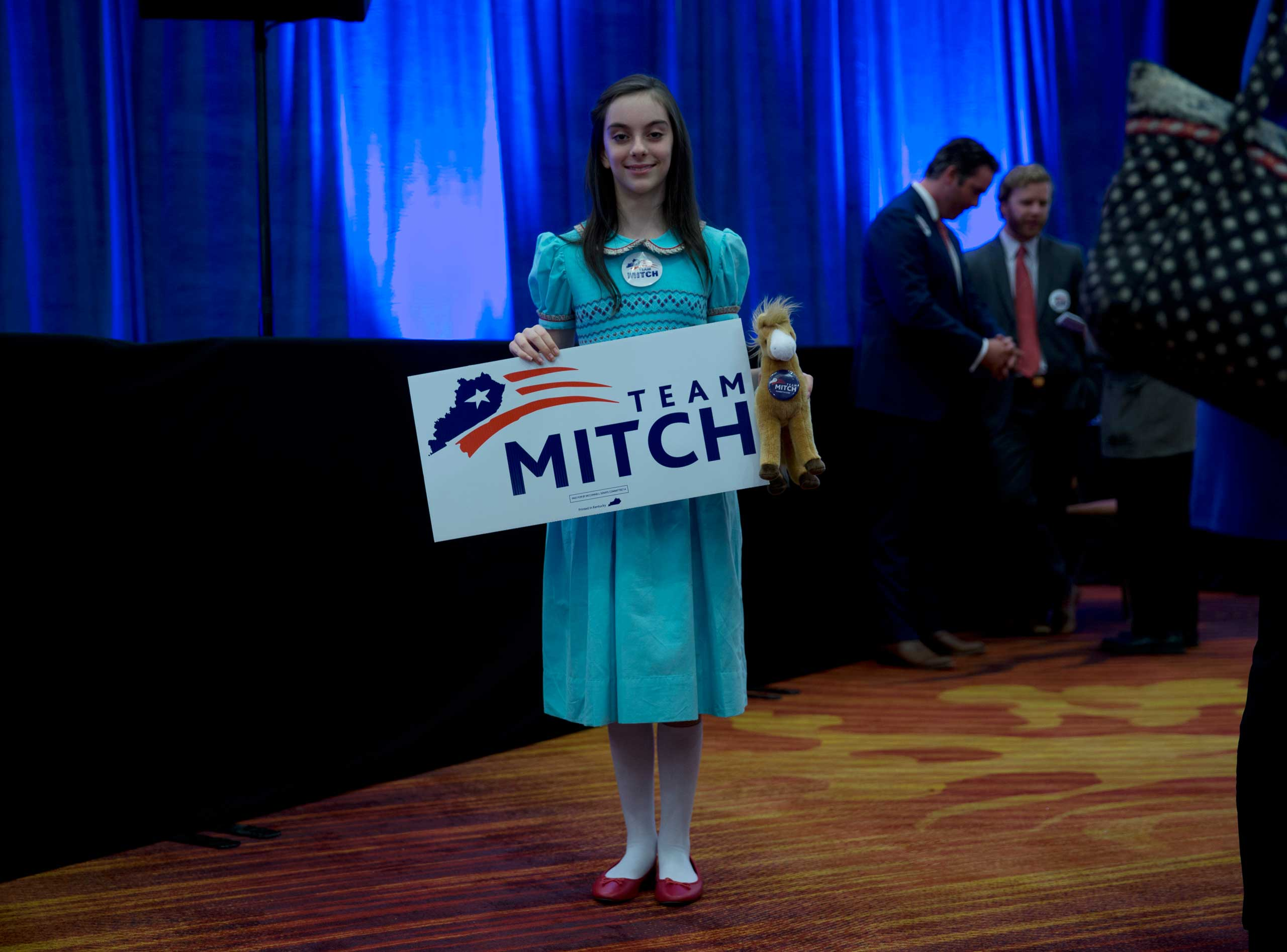 A supporter of incumbent Sen. Mitch McConnell's win at the Louisville Marriott East Hotel in Louisville, Ky. on Nov. 4, 2014.