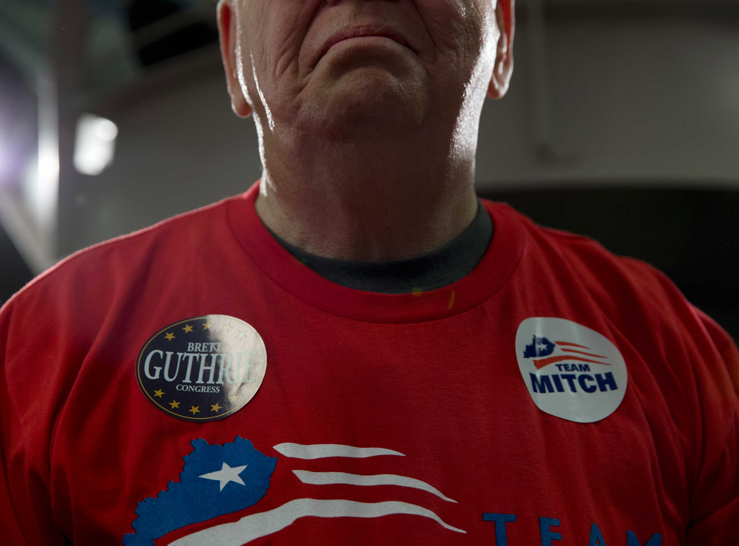 A supporter of Sen. Mitch McConnell is seen at a campaign rally at Bowling Green-Warren Co. Regional Airport in Bowling Green, Ky. on Nov. 3, 2014.