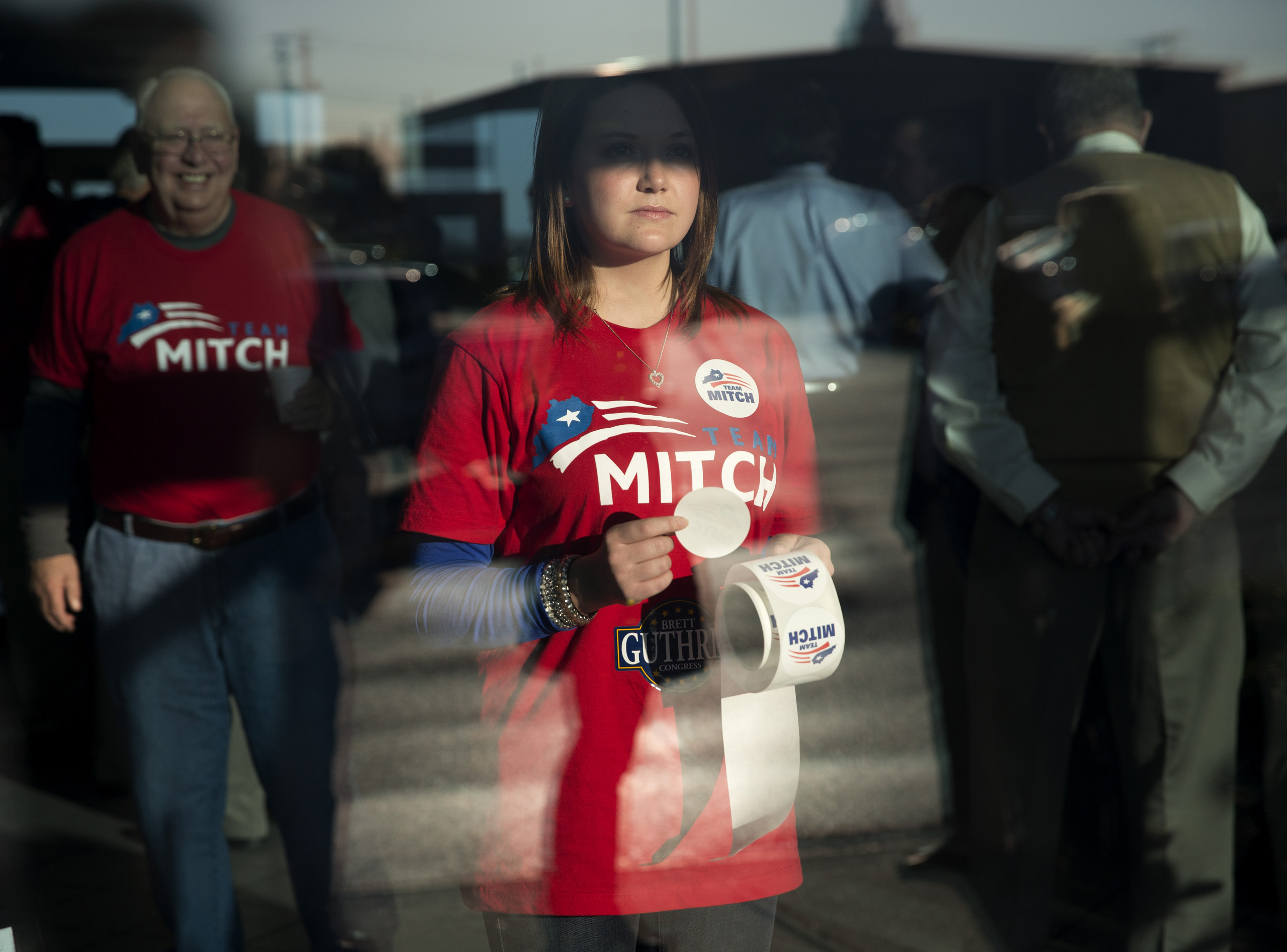 Nov. 3, 2014. Supporters of Sen. Mitch McConnell attend a campaign rally at Bowling Green-Warren Co. Regional Airport in Bowling Green, Ky.
