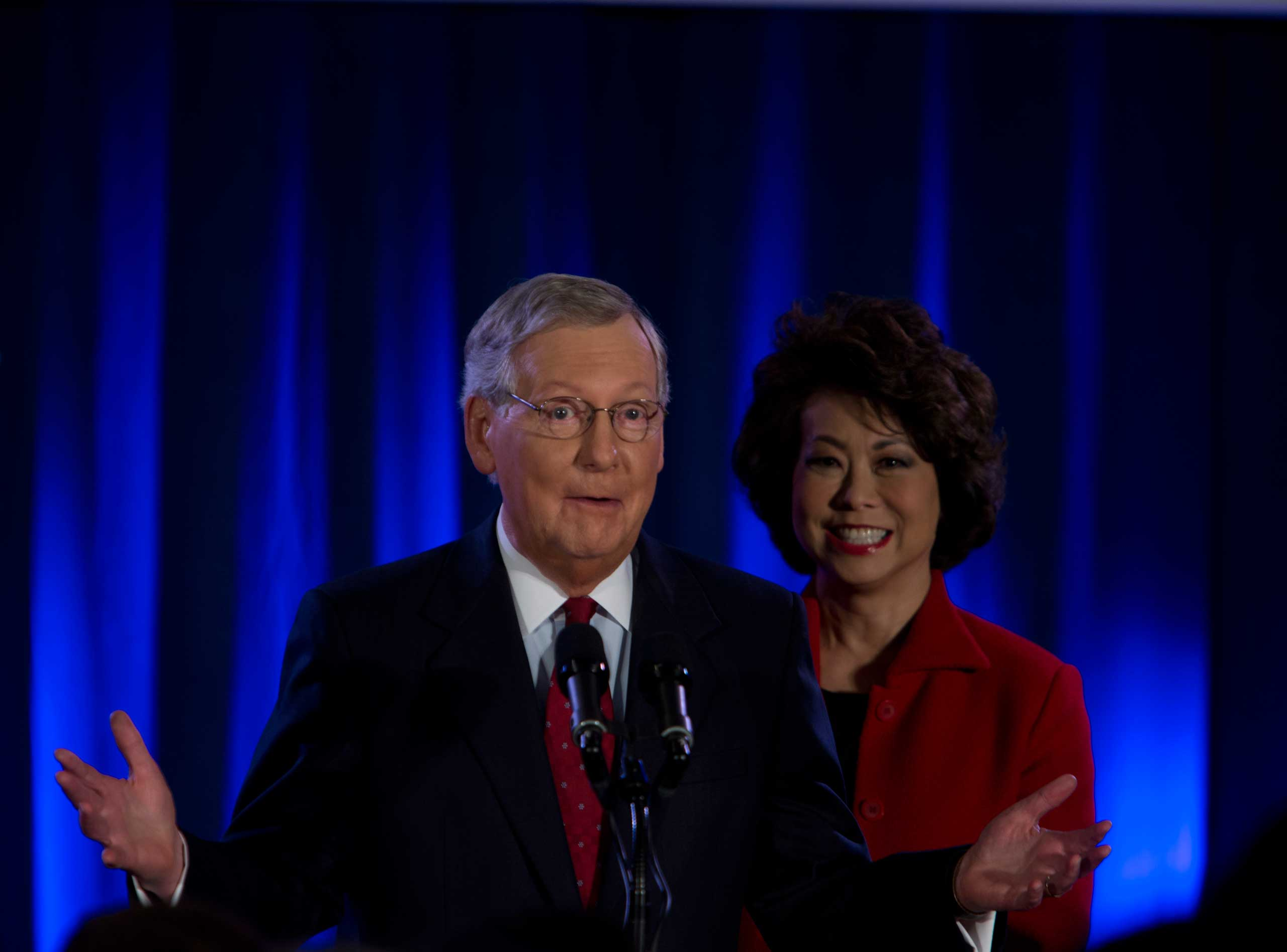 Sen. Mitch McConnell at his election night celebration in Louisville, Ky. on Nov. 4, 2014.