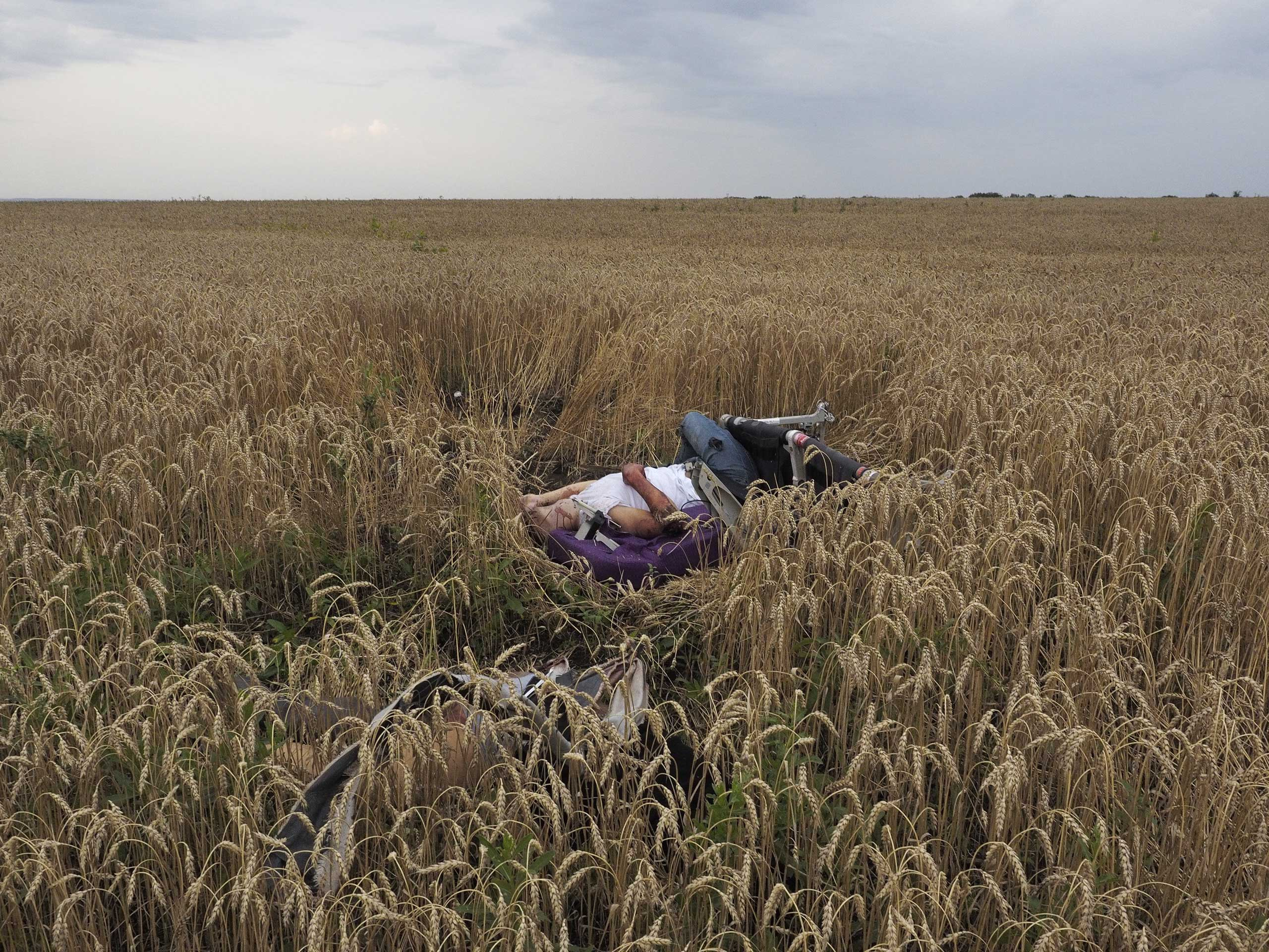 The remains of a passenger on board Malaysia Airlines flight MH17 that was shot over eastern Ukraine, July 17, 2014. From  Malaysia Airlines Ukraine Crash: 'Unreal' Scenes from Photographer Jerome Sessini