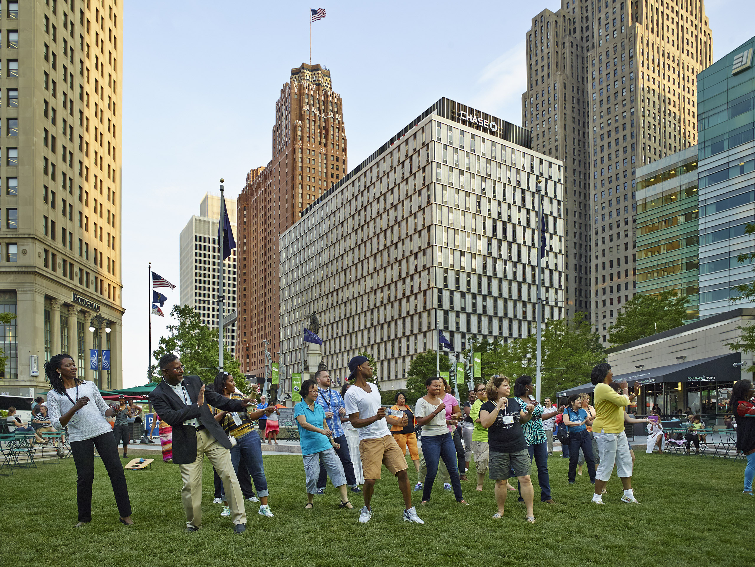 A group of diversity activists celebrate at a downtownDetroit park