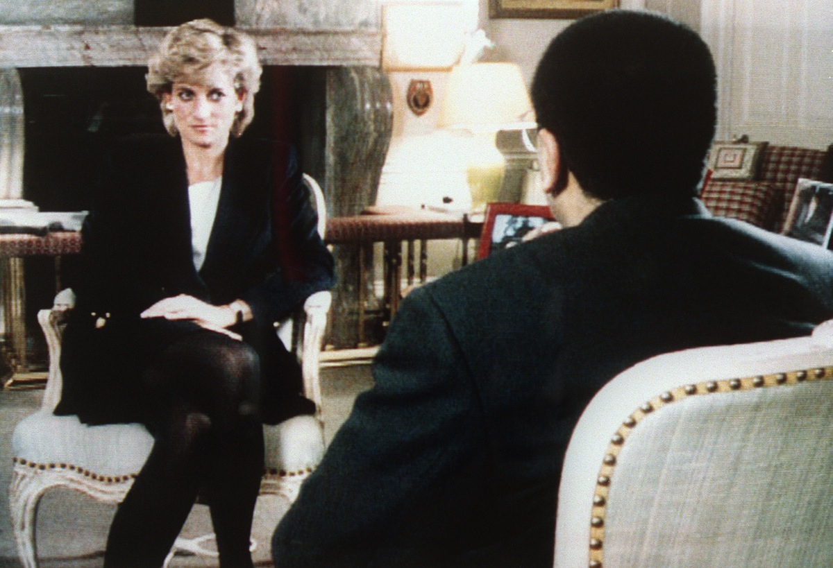 The Princess of Wales is interviewed by the BBC's Martin Bashir (R) on Nov. 20, 1995