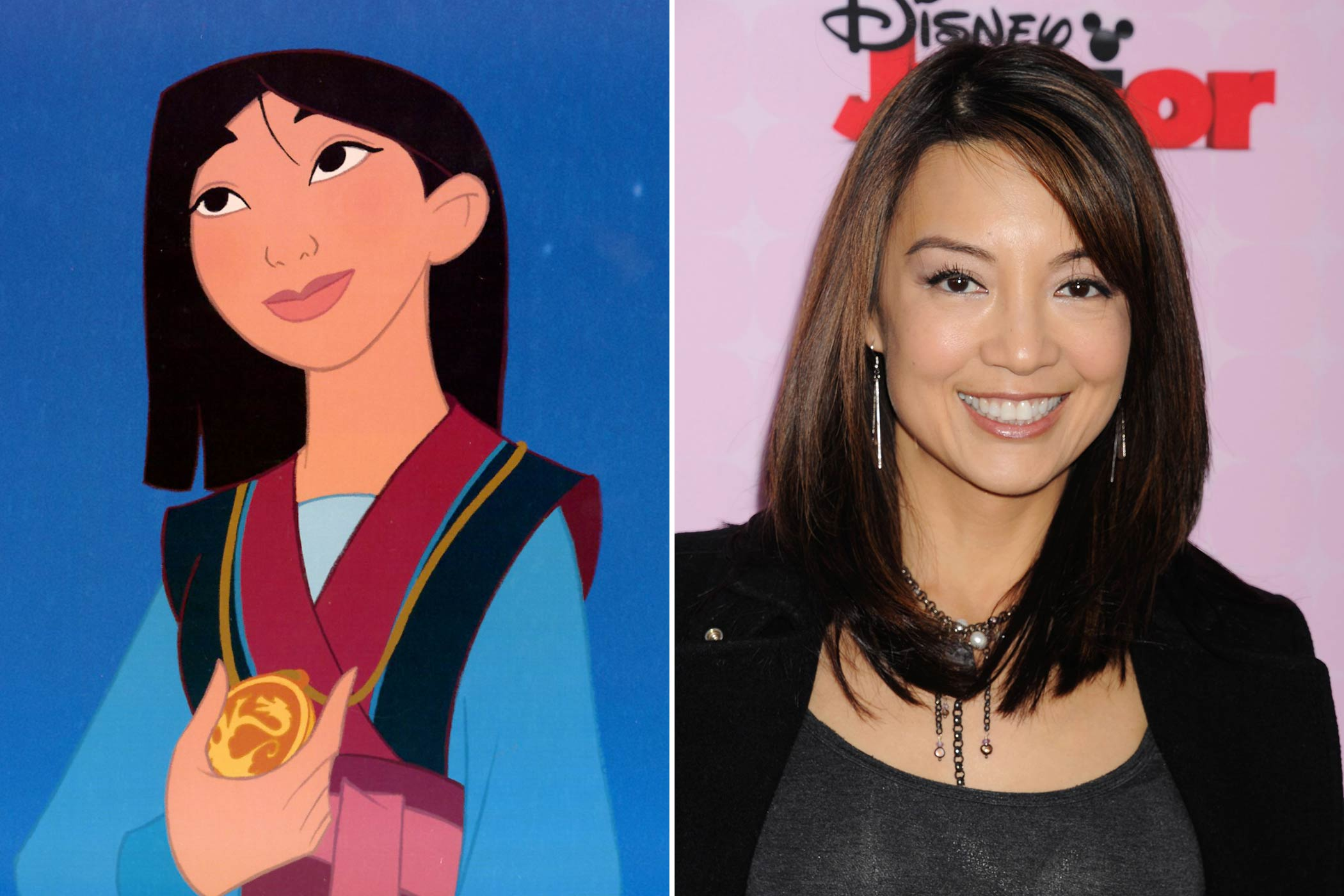 <strong>Mulan: Ming-Na Wen</strong>                                   The Chinese-American actress made her television debut on <i>Mister Rogers' Neighborhood</i> in 1985 as a Royal Trumpeter and starred in <i>The Joy Luck Club</i> as June Woo before she became the voice of Mulan. She currently plays Melinda May on <i>Agents of S.H.I.E.L.D</i>.