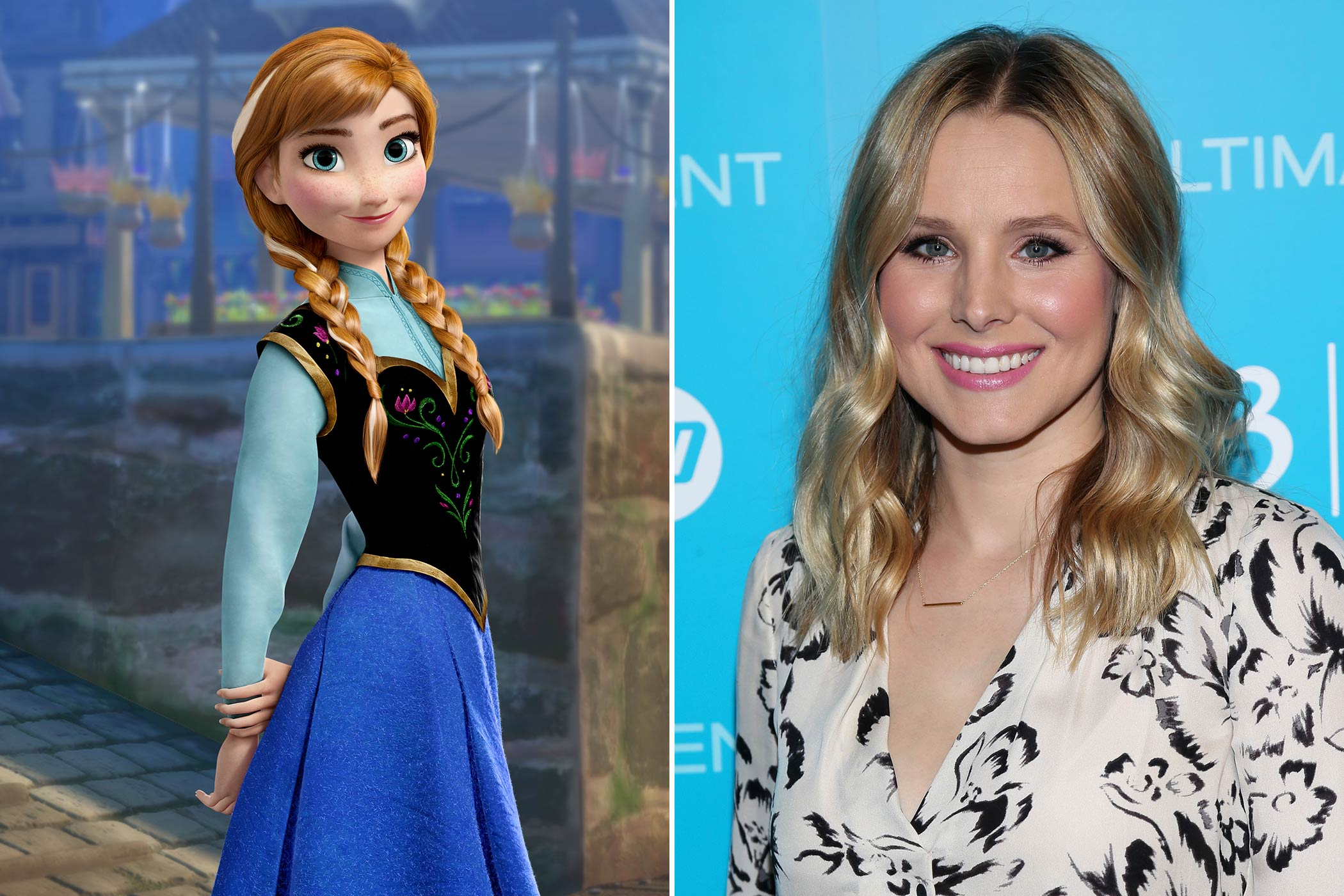 "<strong>Anna: Kristen Bell</strong>                                   Best known for her role as Veronica Mars, Kristen Bell plays Anna, the younger sister of Elsa in Disney's <i>Frozen</i>. Although Anna will not be officially added to the pantheon of Disney princesses until she's inducted in an official ceremony at a later date, Bell was nonetheless excited for the part. ""Oh, I was in glee."" Bell said in an interview with wegotthiscovered.com. ""I have always wanted to be part of a Disney animated feature. I grew up watching all of the old Disney musicals, and was especially obsessed with <i>The Little Mermaid</i> and <i>Aladdin</i>. It had always been my dream as a little girl to be a Disney princess, like it is everybody's."""
