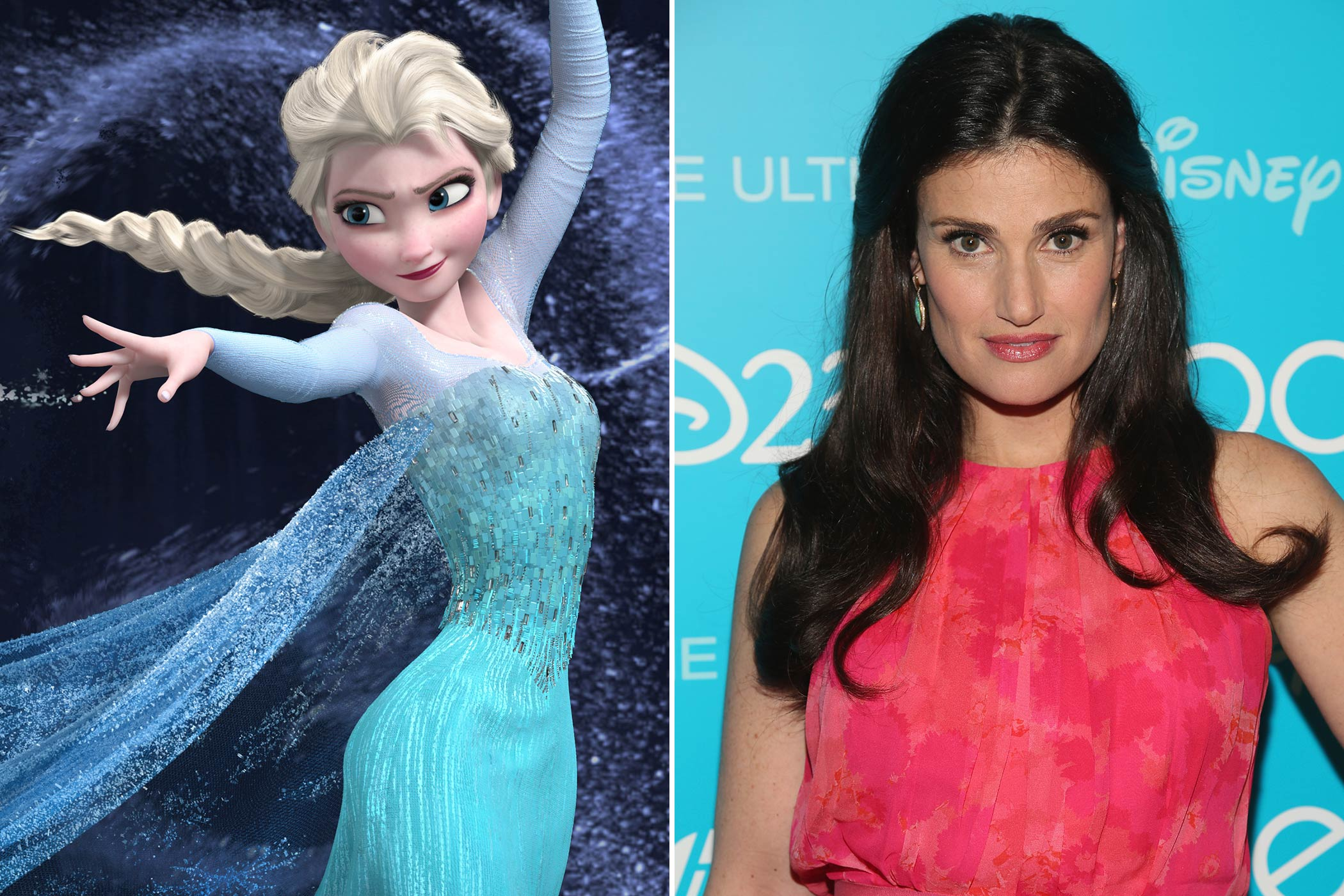 <strong>Elsa: Idina Menzel</strong>                                   Fans of Broadway and <i>Glee</i> will instantly recognize Idina Menzel. The storied thespian was part of the original casts of <i>Rent</i> and <i>Wicked</i> as Maureen Johnson and Elphaba respectively. She also played Shelby Corcoran, Rachel Berry's mother, in Glee. Like Anna, Elsa will not be officially known as a princess until the character is inducted at a later date.