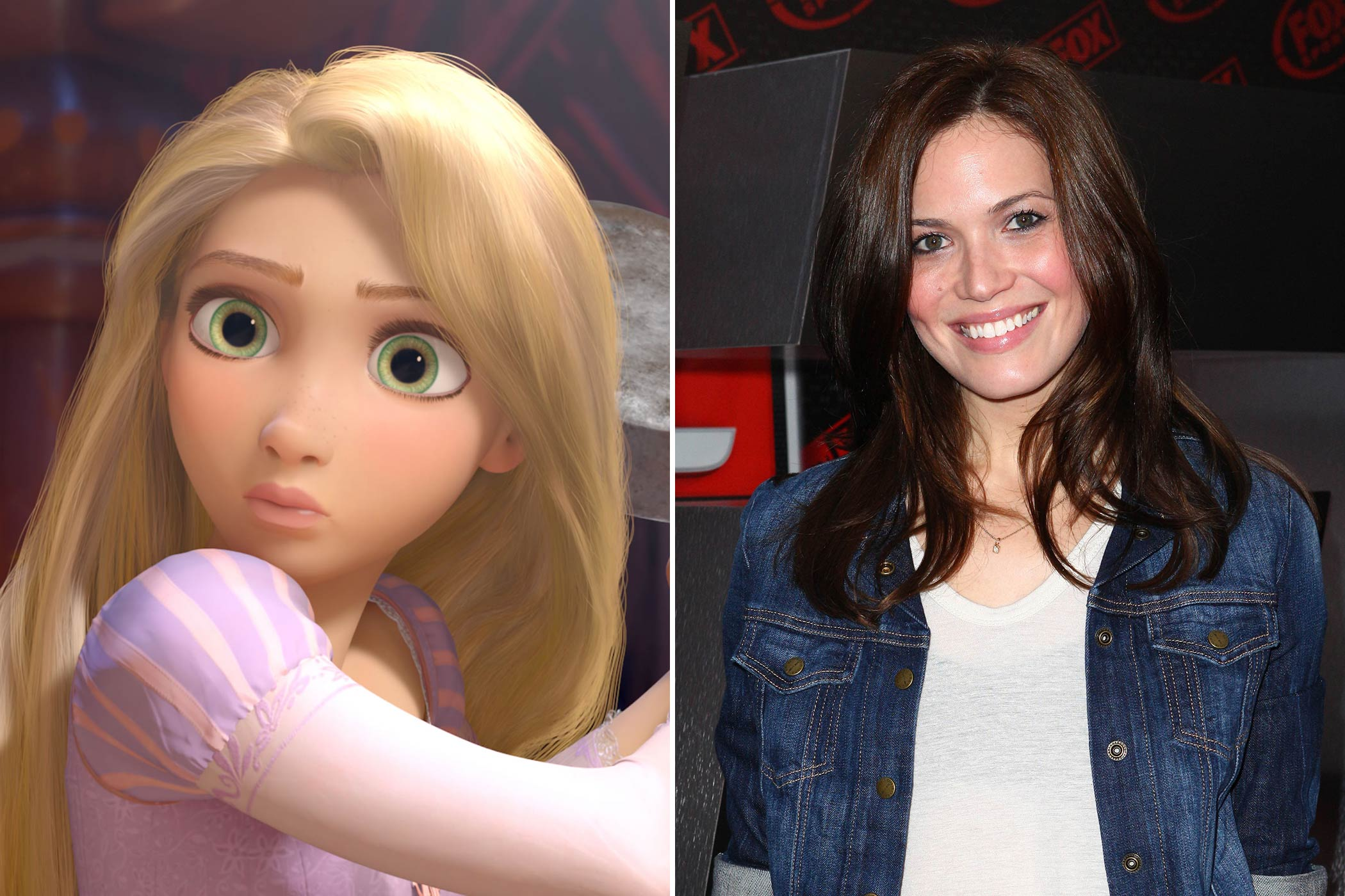 "<strong>Rapunzel: Mandy Moore</strong>                                   The Grammy-winning pop star made her music debut with the single ""Candy"" in 1999. Ten years later she was singing a different tune as a Disney princess. ""To be a Disney princess in a Disney film, it really has been a total dream come true."" said Moore in an interview with SheKnows.com."
