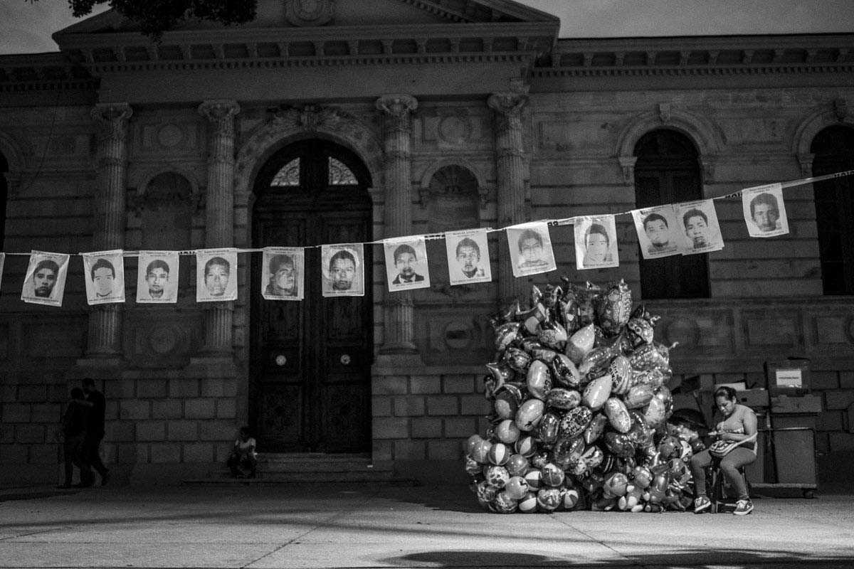 Portraits of the missing students hang in the main square of Chilpancingo de los Bravo, the capital of                                   Guerrero State where the drug cartels operate with impunity.