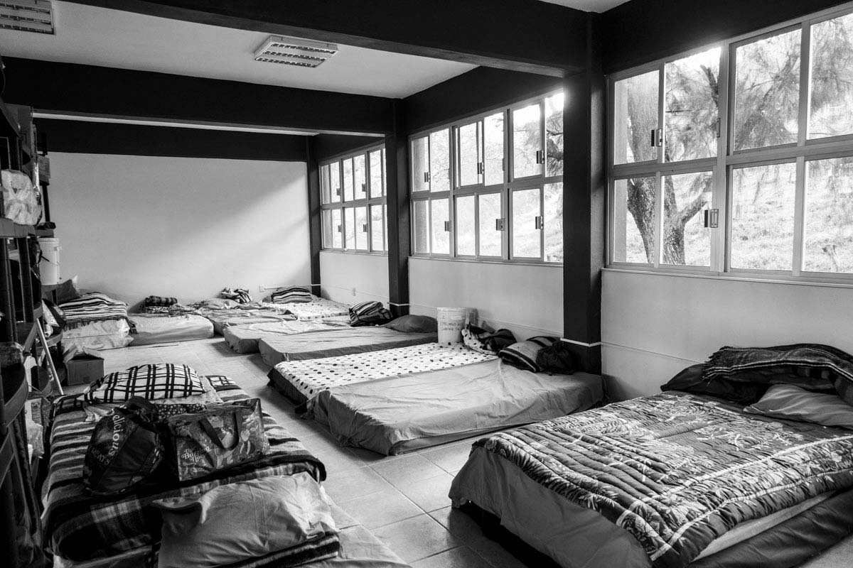 A communal room where students sleep in Ayotzinapa University. The university operates on a shoestring, with students often sleeping                                   on floors in dilapidated buildings. Students have been protesting an                                   overhaul of the education system by Mexican President Pena                                   Nieto.