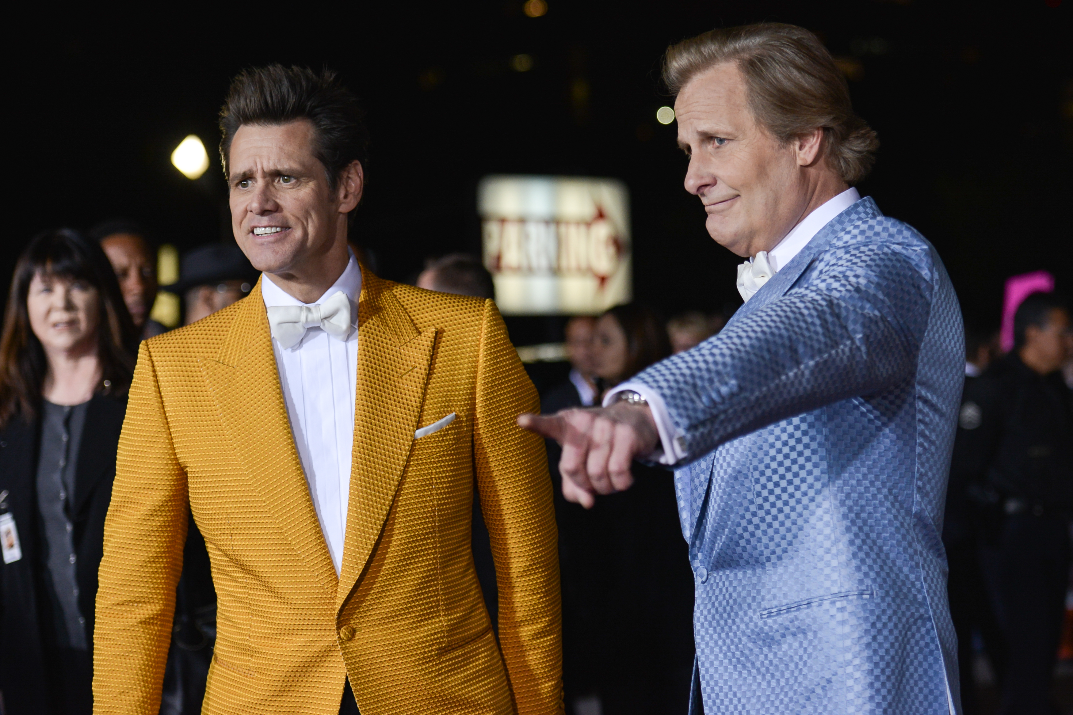 Jim Carrey and Jeff Daniels arrive at the LA Premiere Of  Dumb And Dumber To  on Nov. 3 2014, in Los Angeles.
