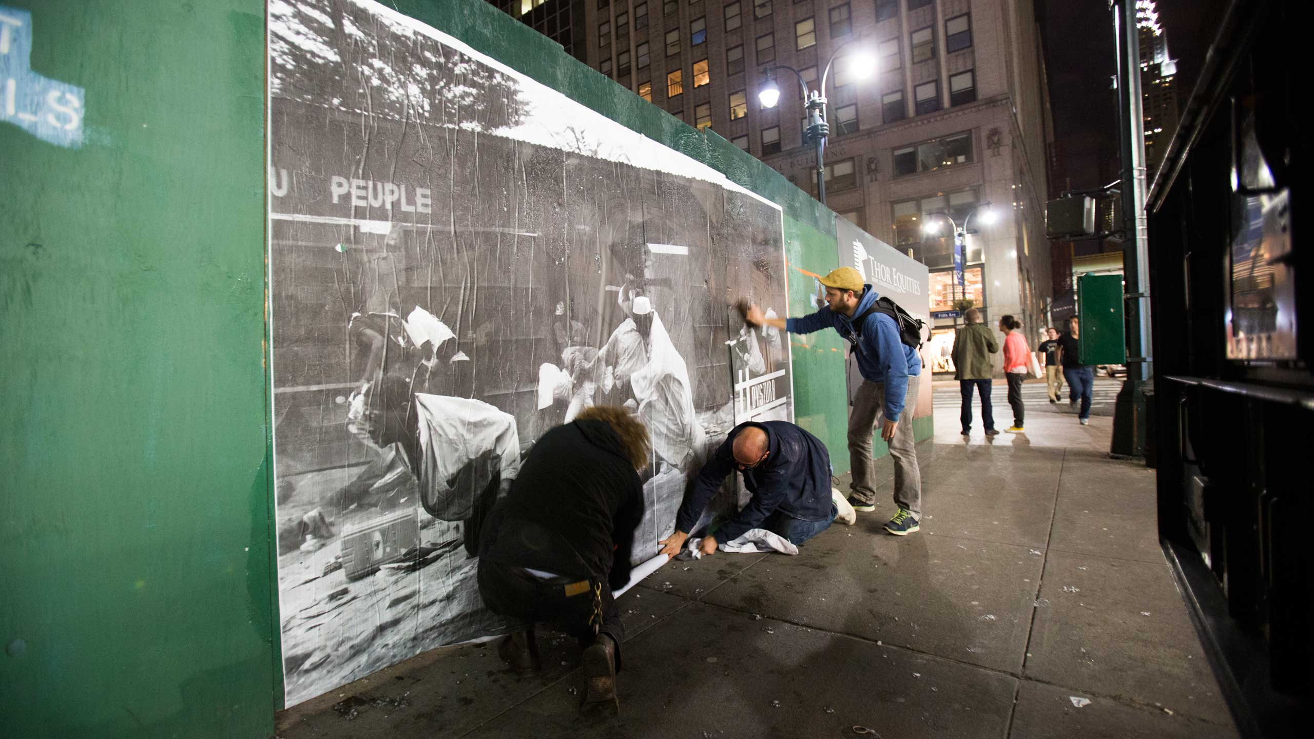 The Dysturb collective at work on 43rd Street and 5th Avenue in New York. October 16th 2014.