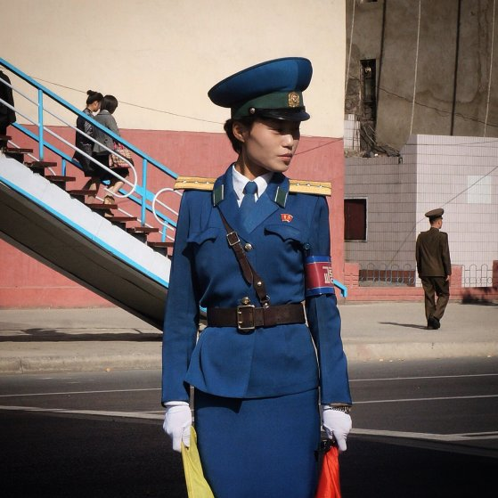 Pyongyang traffic police, with attitude.