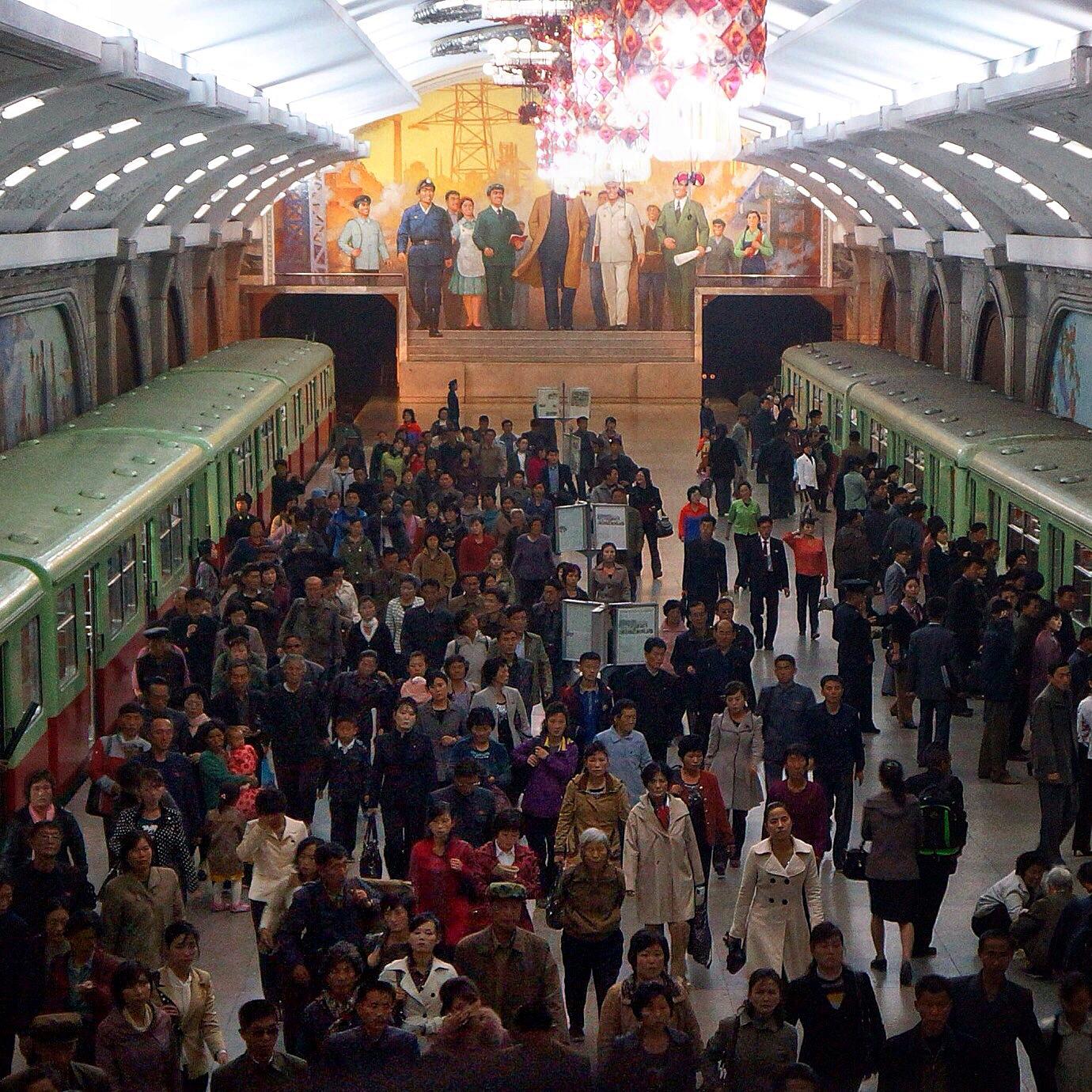 Rush hour at Prosperity (Puheung) Station -- Pyongyang Metro.
