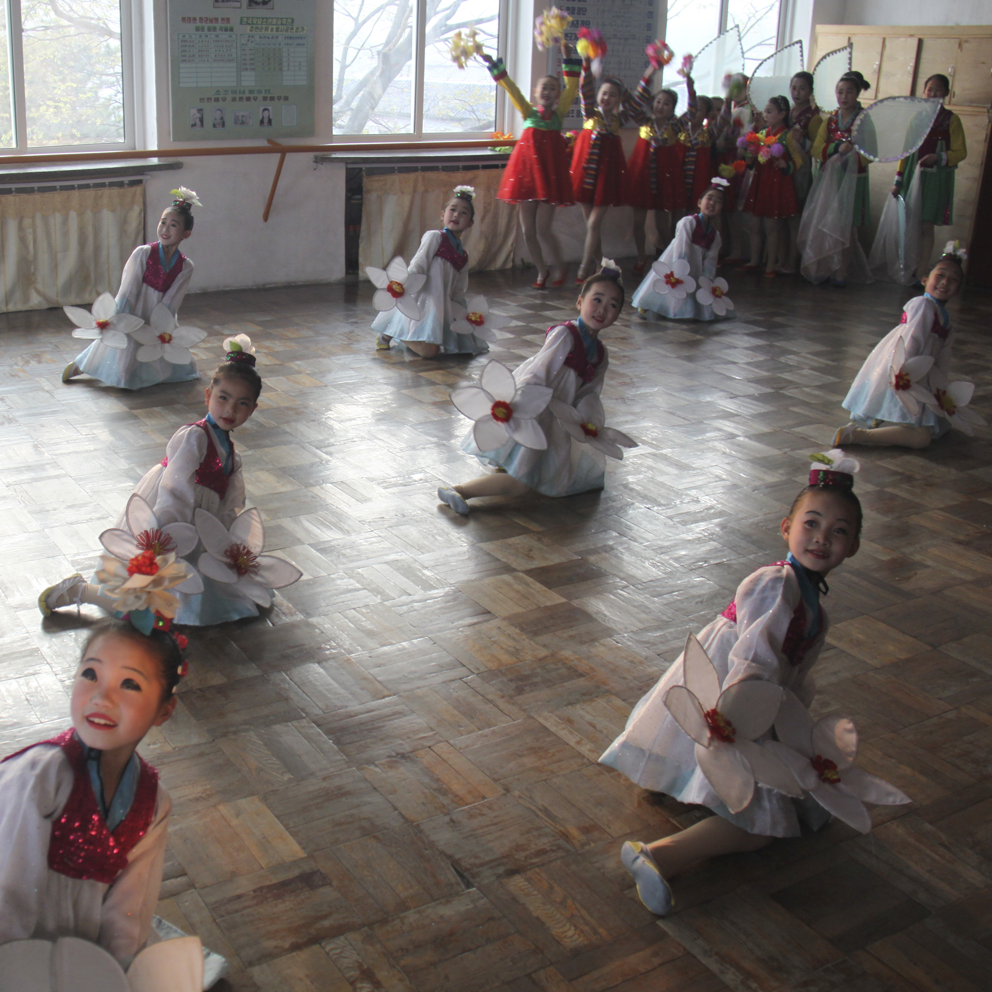 North Korean children practice for a performance at the Kaesong Schoolchildren's Palace. So-called Schoolchildren's Palaces in North Korea are centers of art and performance where talented kids in each city go after school to work on dance, music, martial arts, calligraphy, and so on.