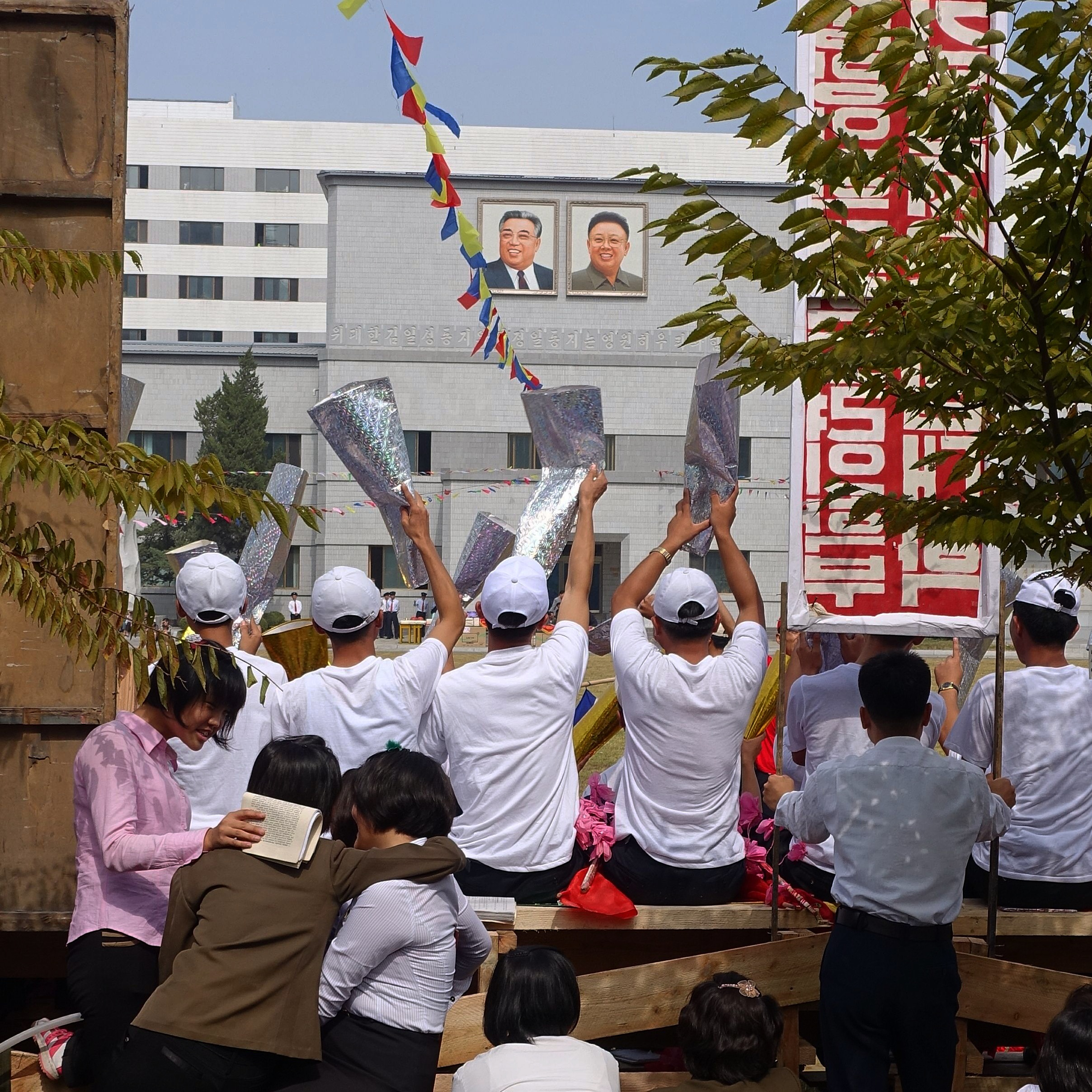 Students of Pyongyang Medical College perform a cheer at their annual sports festival.