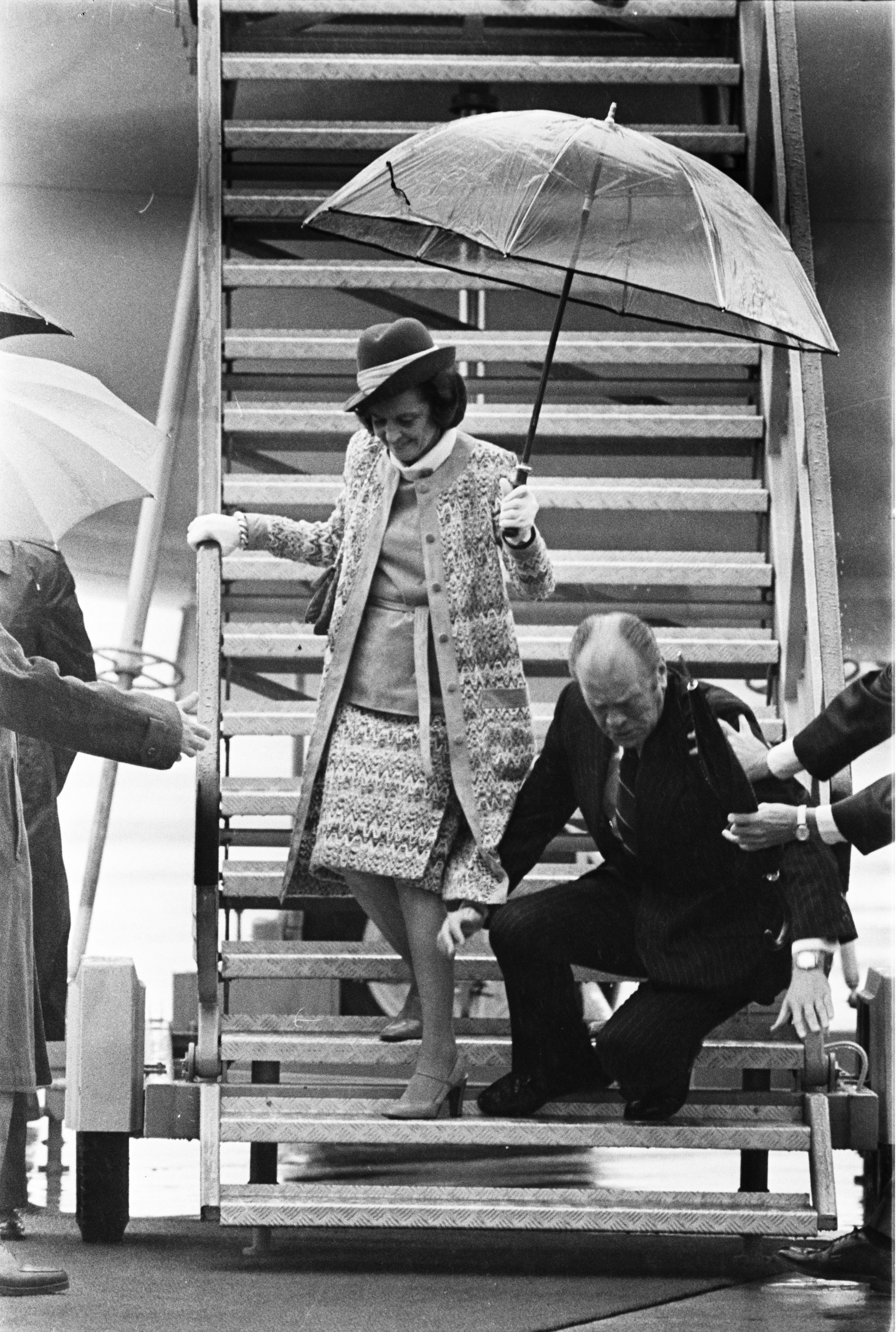 While visiting Austria in 1975, President Gerald Ford's knee gave way and he tumbled down the Air Force One stairs. A few more falls (one was even up the stairs) combined with Chevy Chase's Saturday Night Live pratfall routine, earned the former University of Michigan football star a reputation as a bumbling klutz.