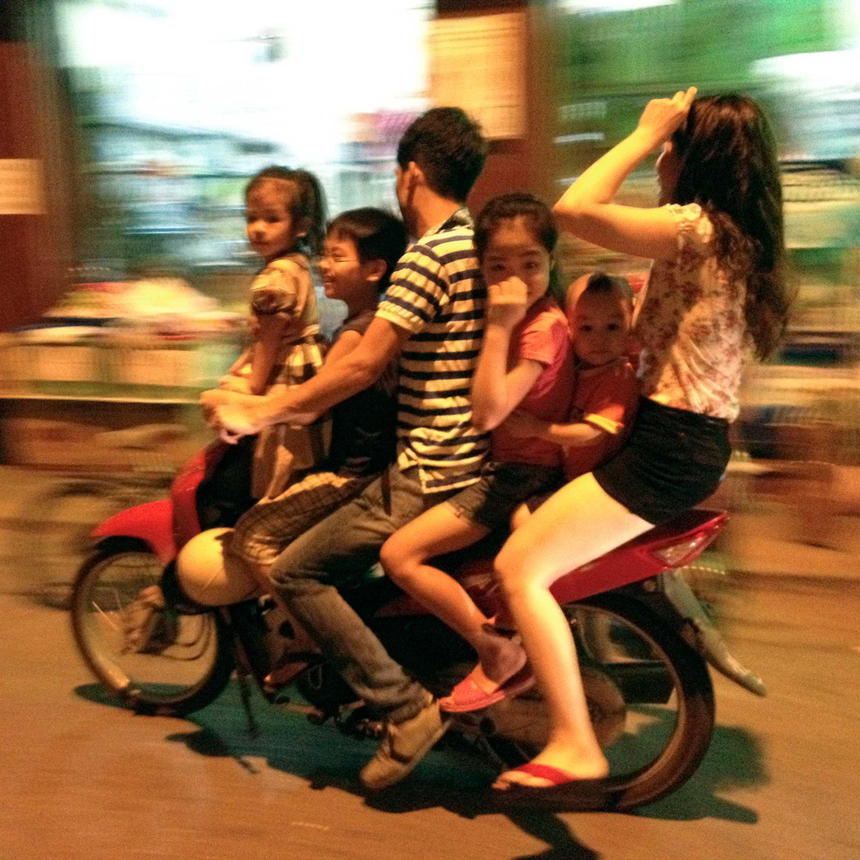 A street scene of summer night at old quarter in Hanoi, Vietnam.