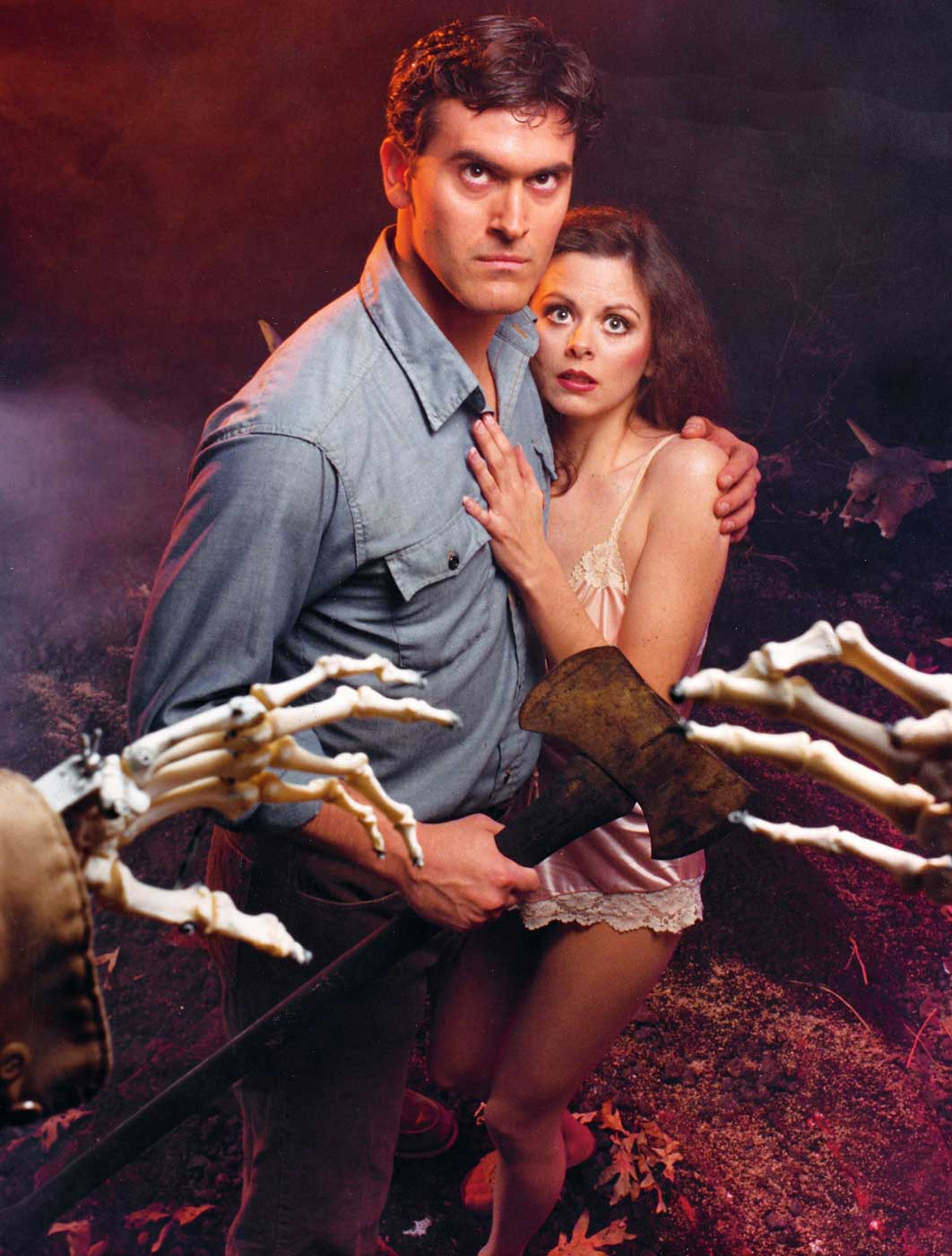 Bruce Campbell and Theresa Tilly in the 1981 film The Evil Dead