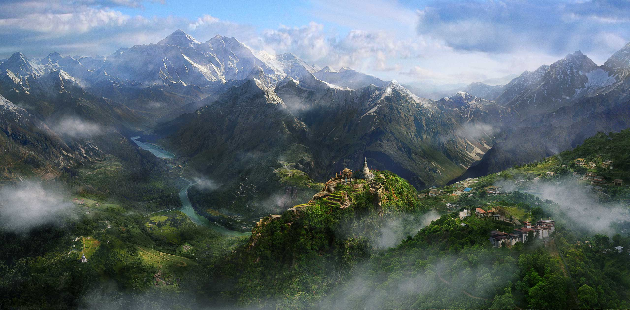 <strong>Far Cry 4</strong>. This pulled back shot of fictional Himalayan region Kyrat is in-game, believe it or not, rendered with an overhauled version of the engine Ubisoft used to design <i>Far Cry 3</i>.
